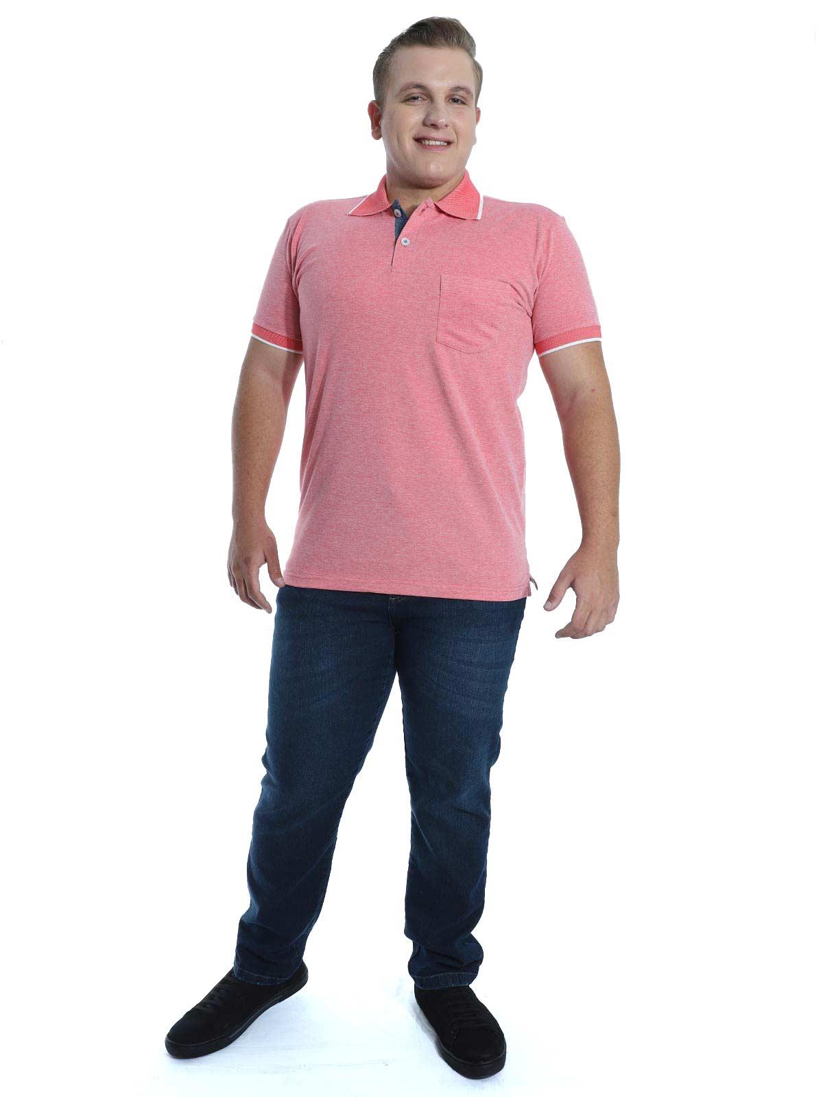 Camisa Polo Anistia com Bolso Mini Piquet Vermelho