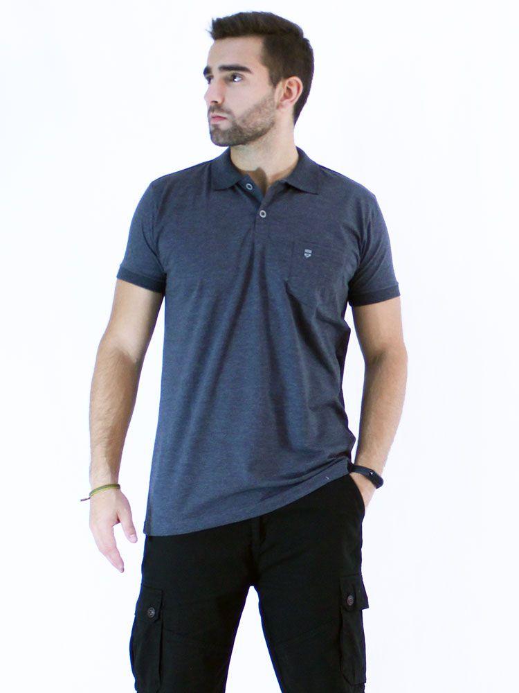 Camisa Polo Anistia com Bolso Plaquinha Mescla Marinho