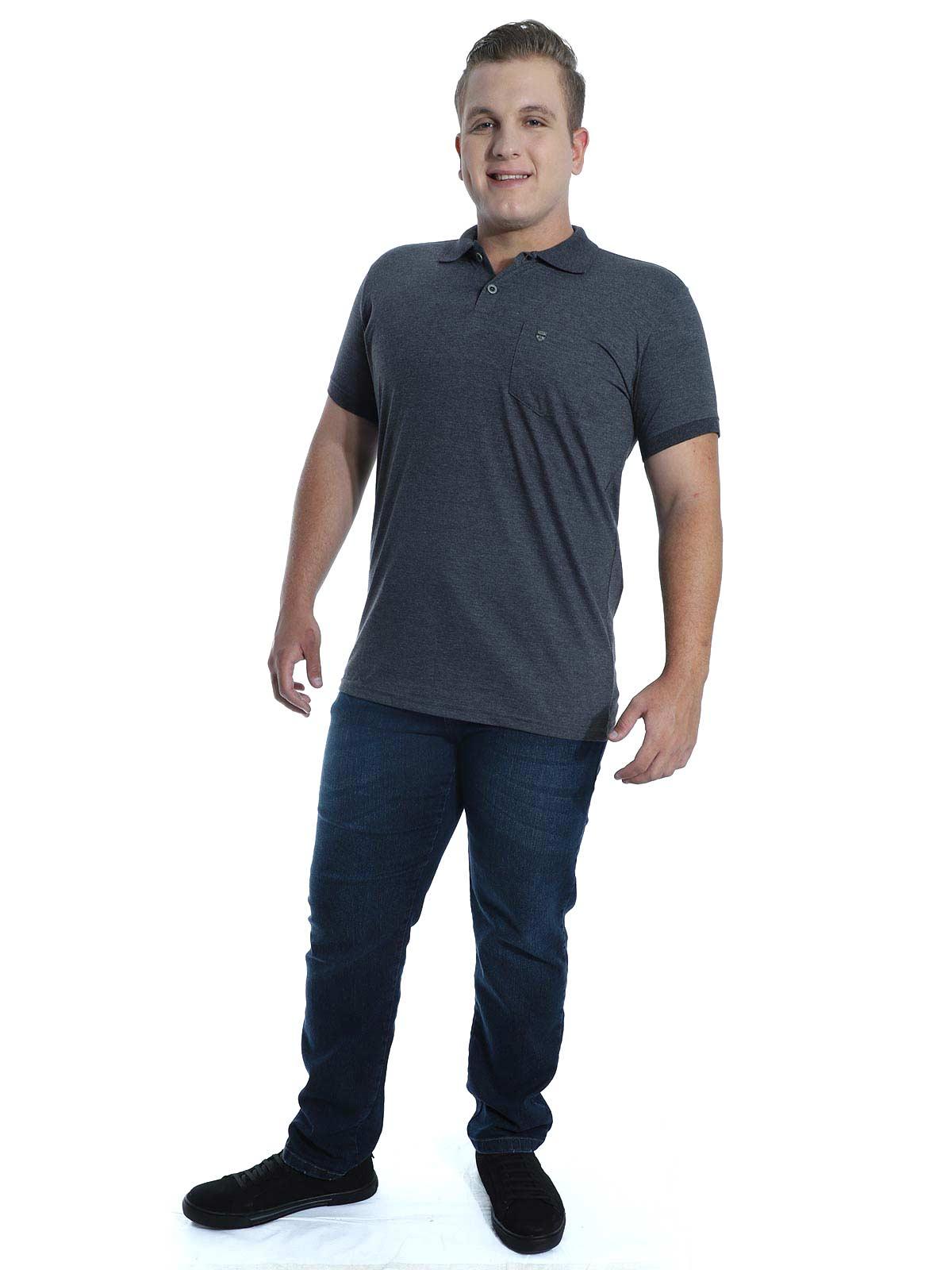 Camisa Polo Anistia com Bolso Plaquinha Mescla Preto