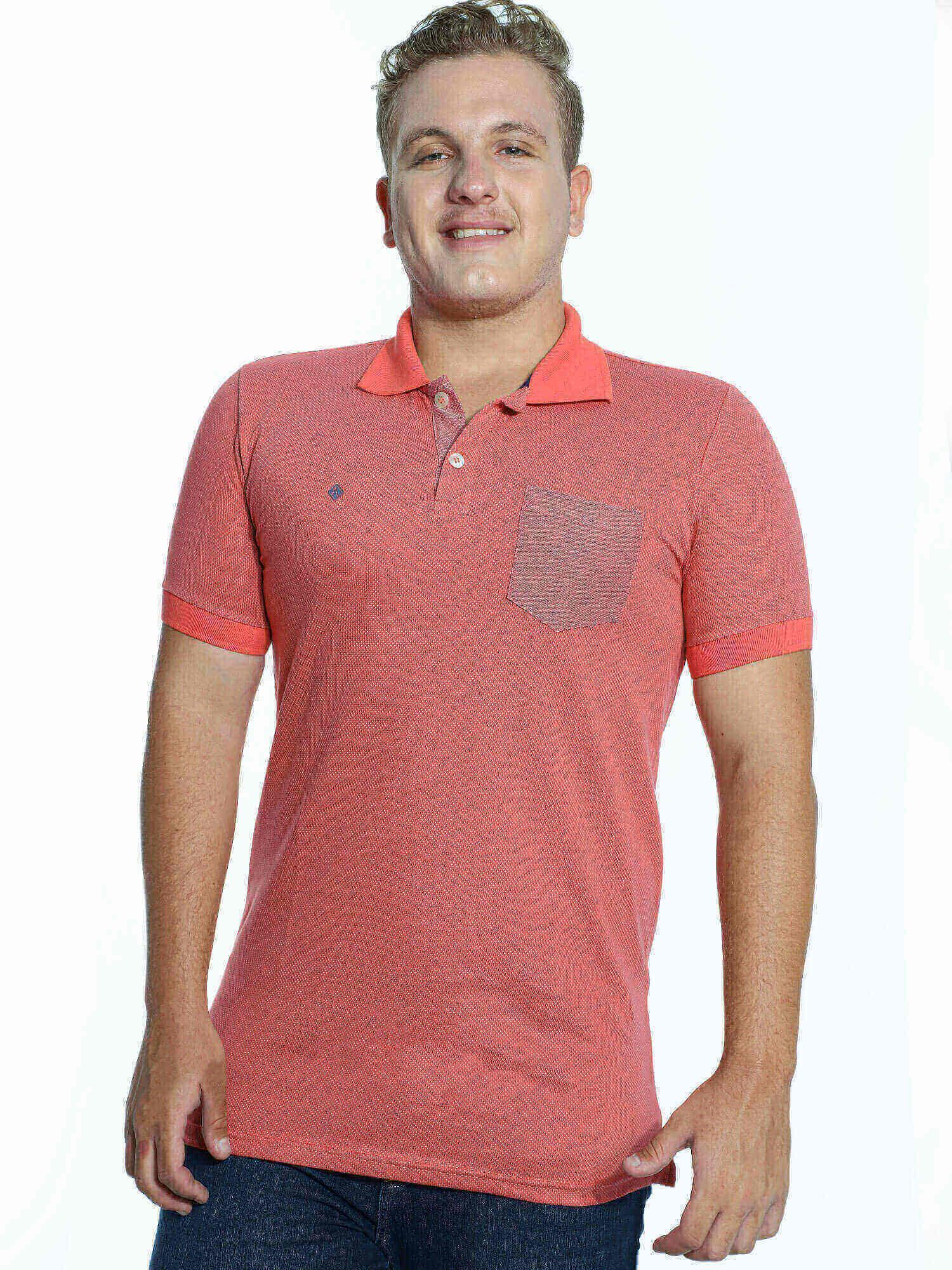 Camisa Polo Anistia Jacquard com Bolso Laranja