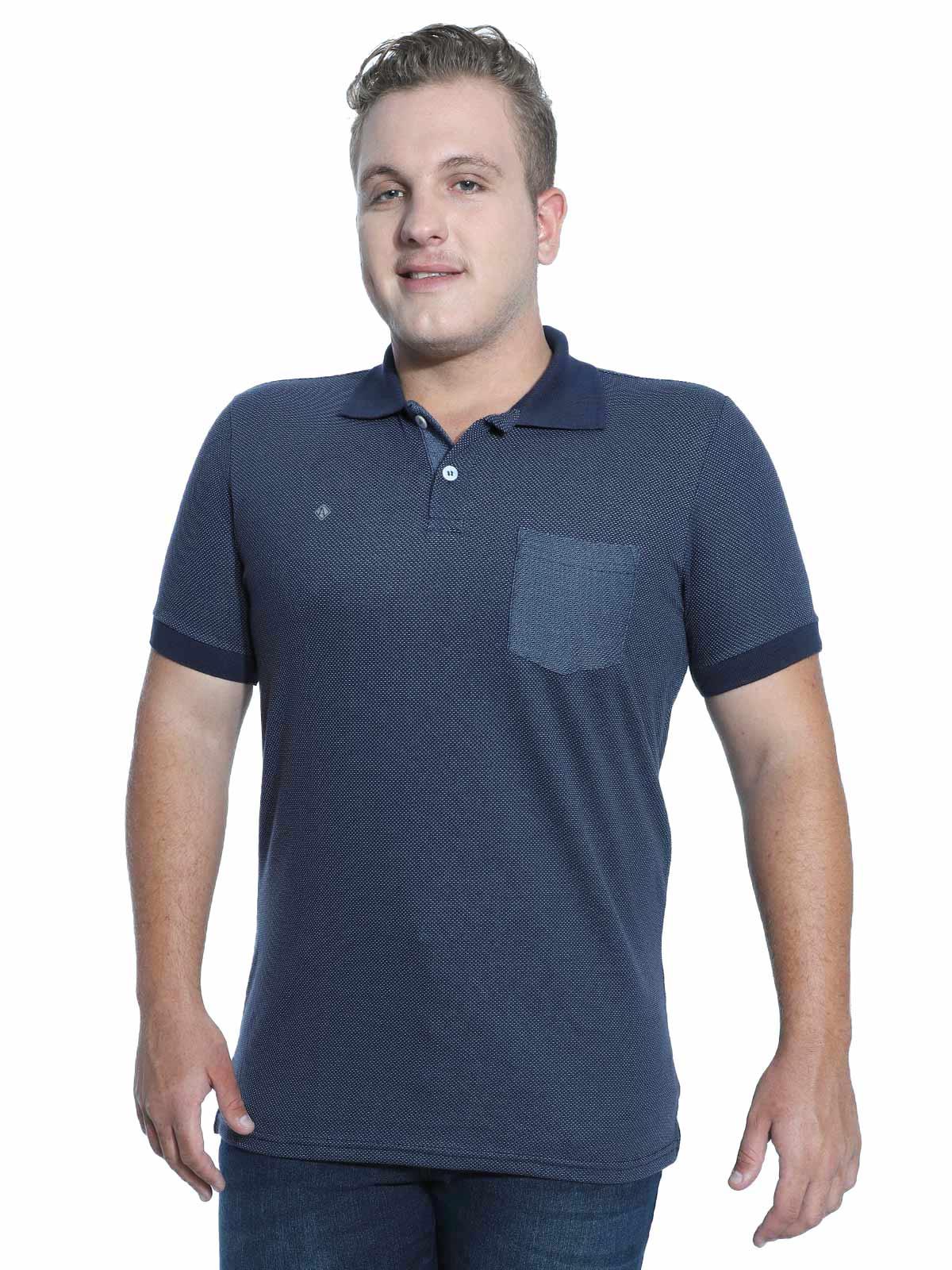 Camisa Polo Anistia Jacquard com Bolso Marinho