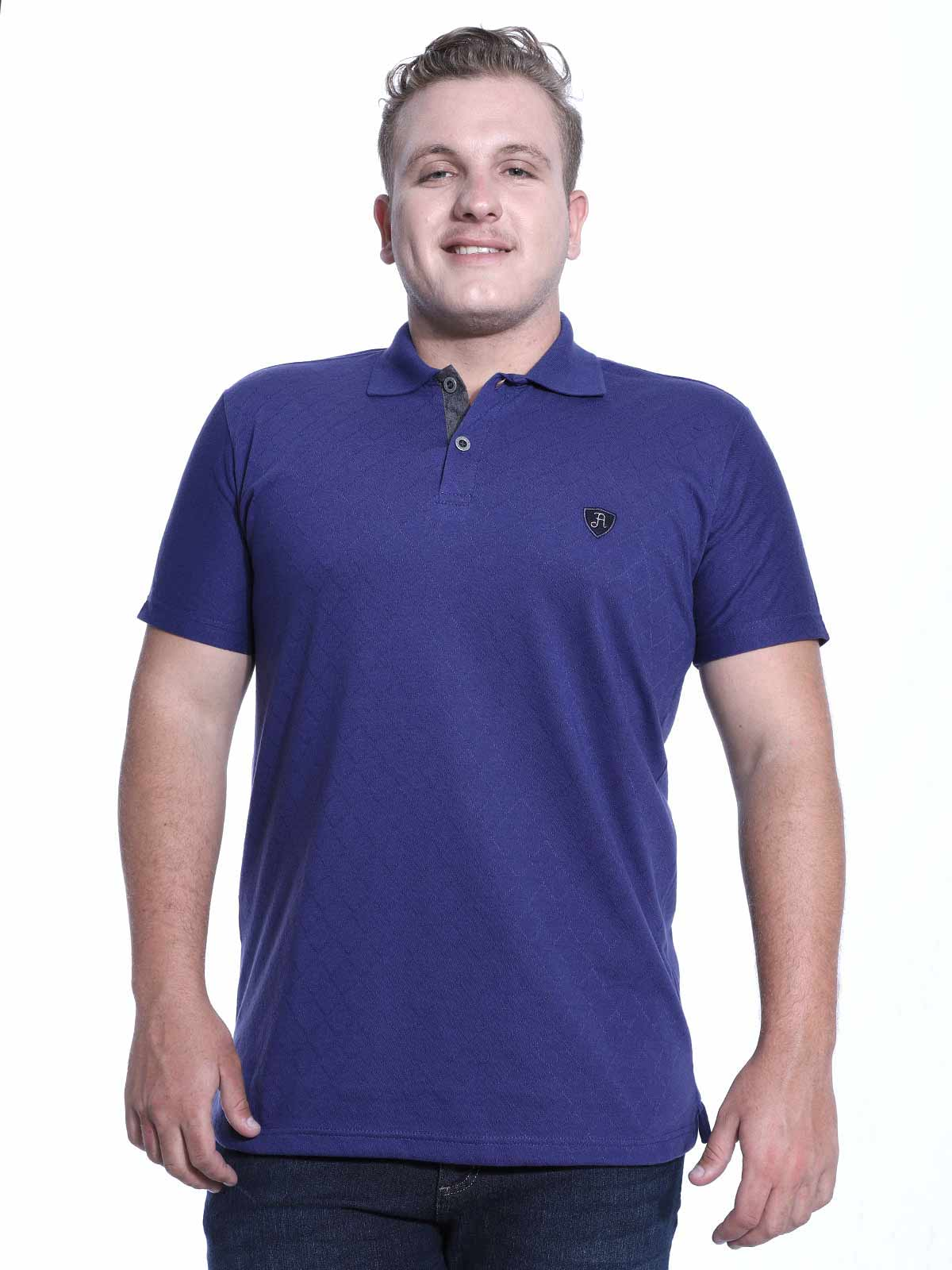 Camisa Polo Anistia Jacquard Elegant Azul