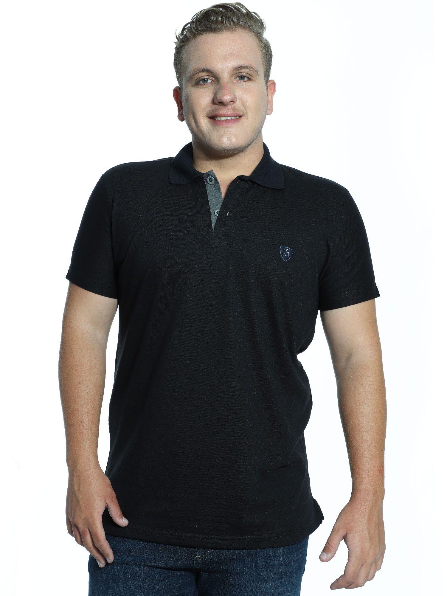 Camisa Polo Anistia Jacquard Elegant Preto