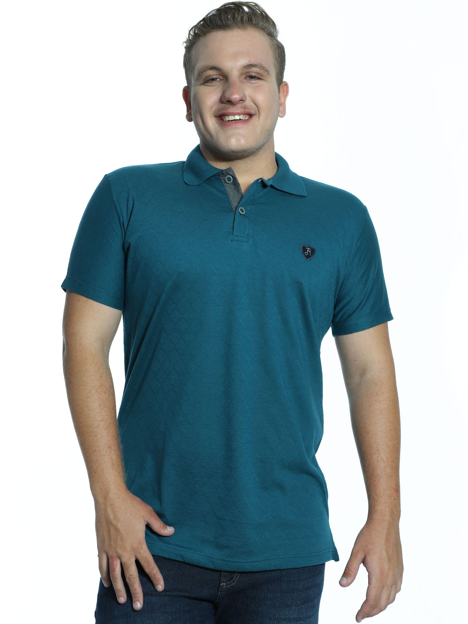 Camisa Polo Anistia Jacquard Elegant Verde