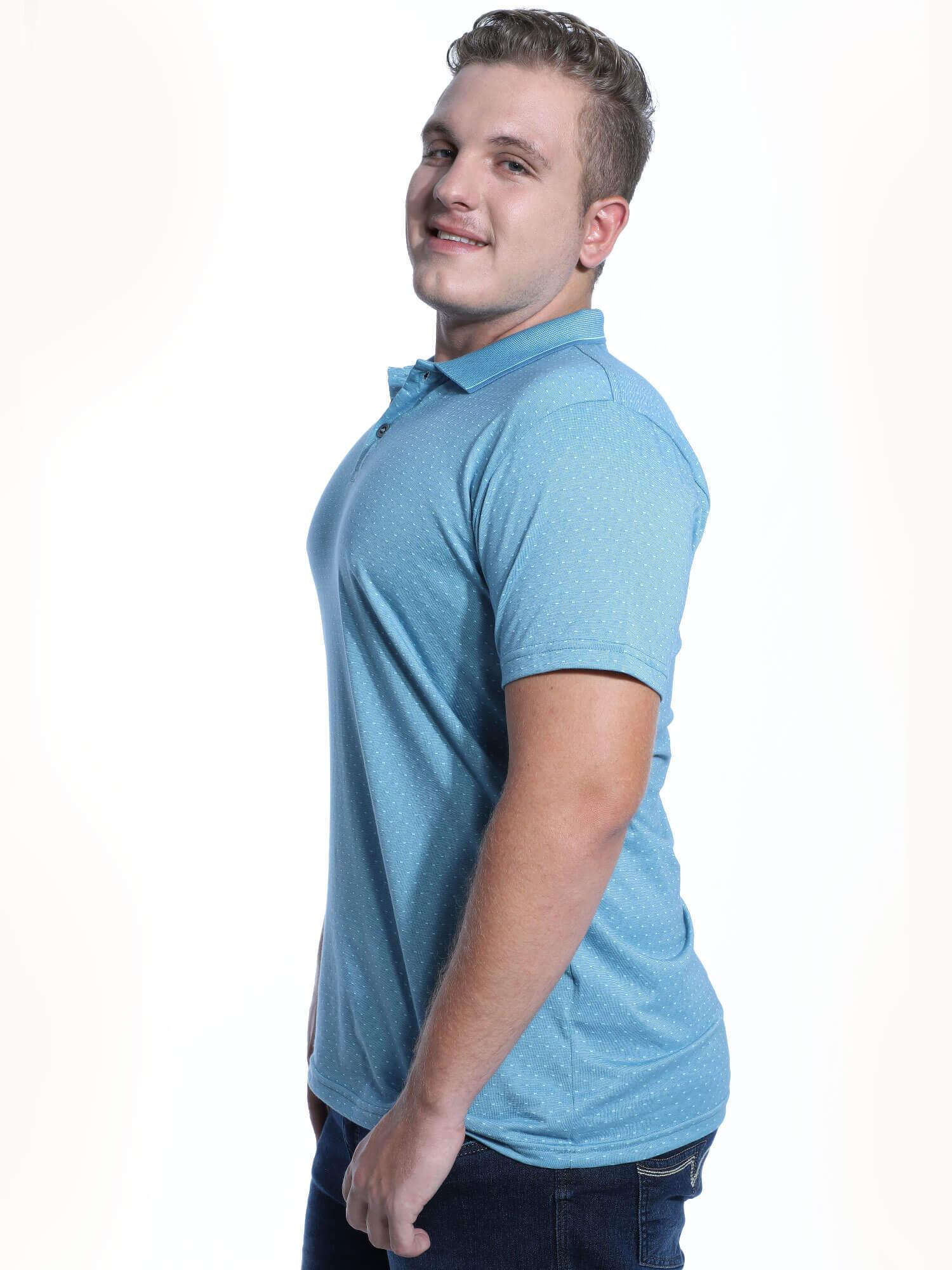 Camisa Polo Anistia Jacquard Regent Azul Claro