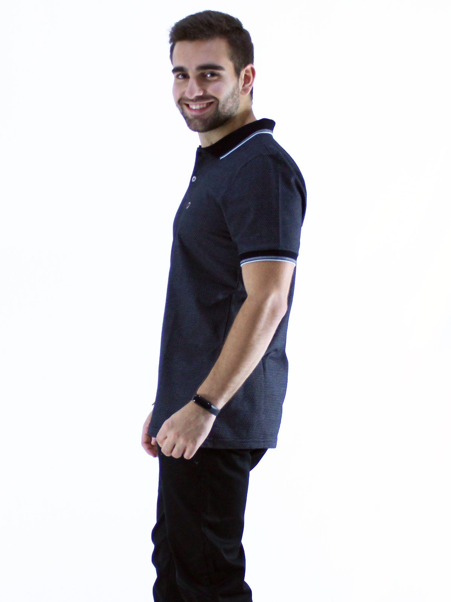 Camisa Polo Anistia Jacquard Spear Preto