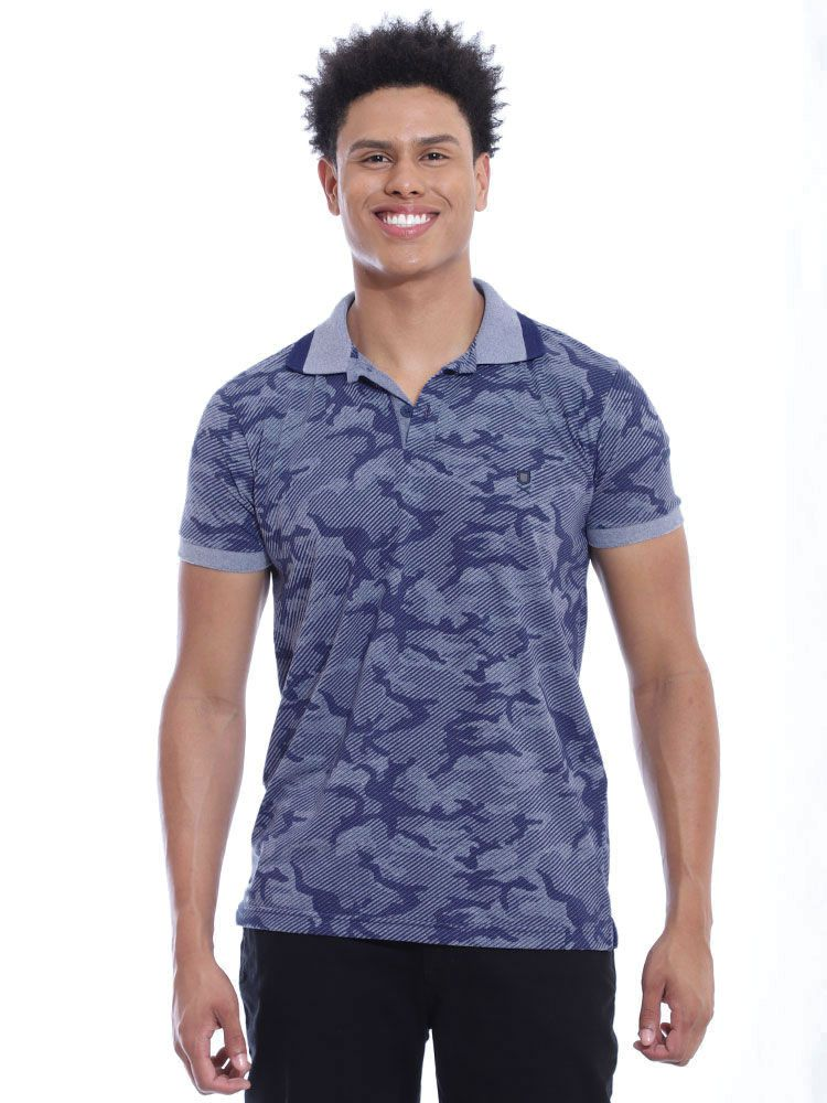 Camisa Polo Anistia Slim Fit Estampada Army Azul