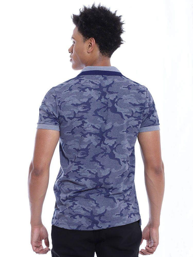 Camisa Polo Anistia Slim Fit Estampada Army Azul
