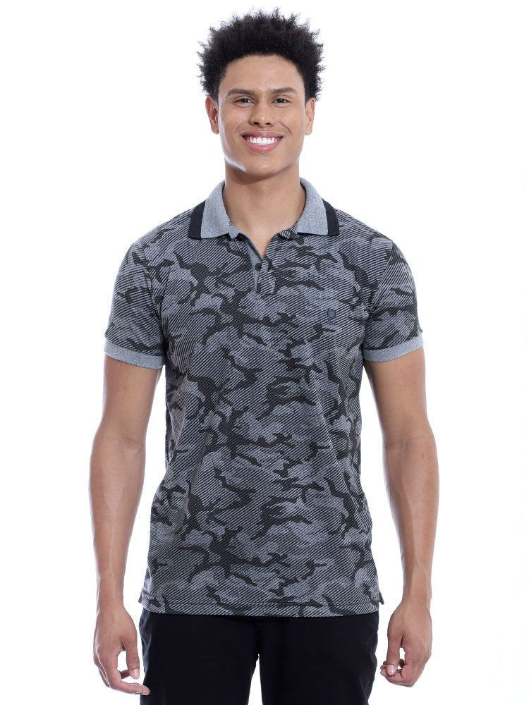 Camisa Polo Anistia Slim Fit Estampada Army Preto