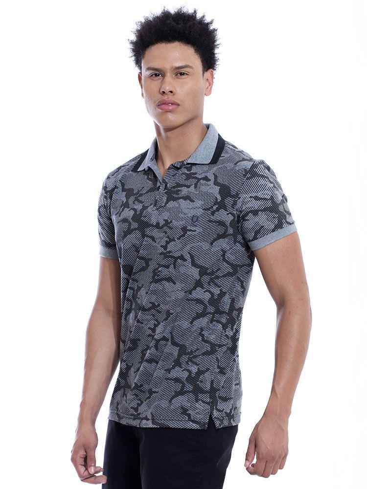 Camisa Polo Anistia Slim Fit Estampada Army Preto