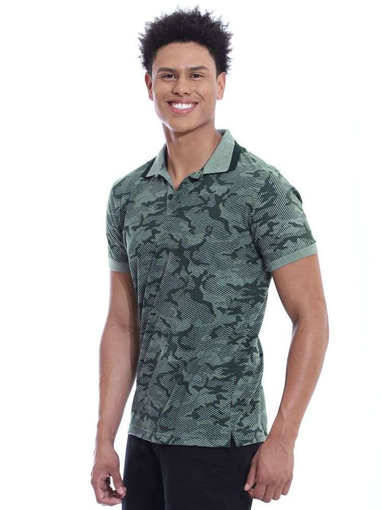 Camisa Polo Anistia Slim Fit Estampada Army Verde