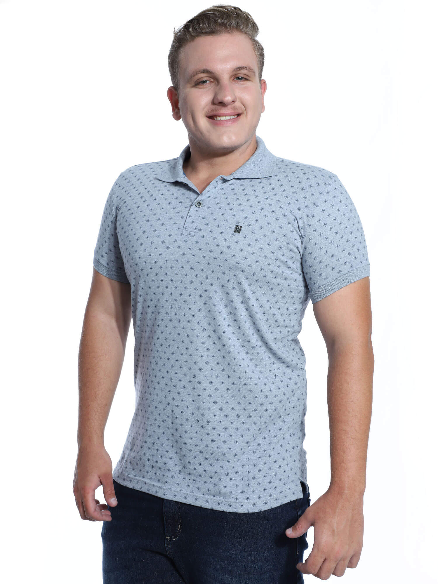 Camisa Polo Anistia Slim Fit Estampada Marinho