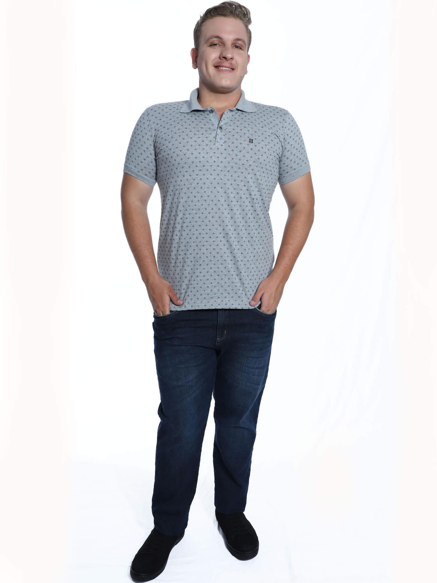 Camisa Polo Anistia Slim Fit Estampada Preto
