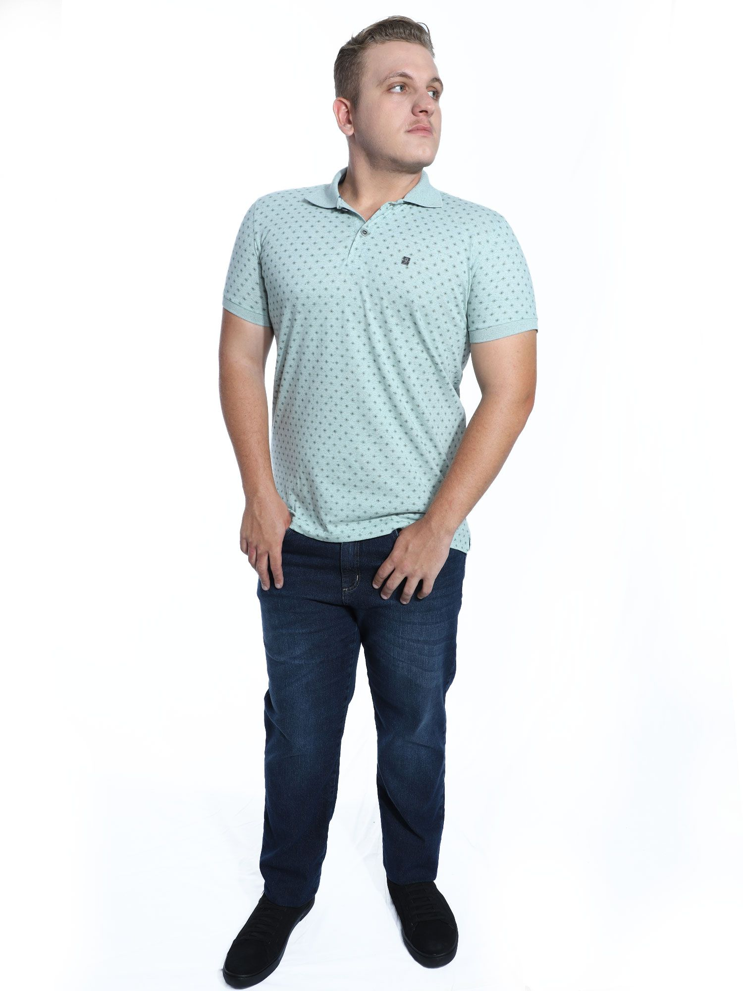 Camisa Polo Anistia Slim Fit Estampada Verde