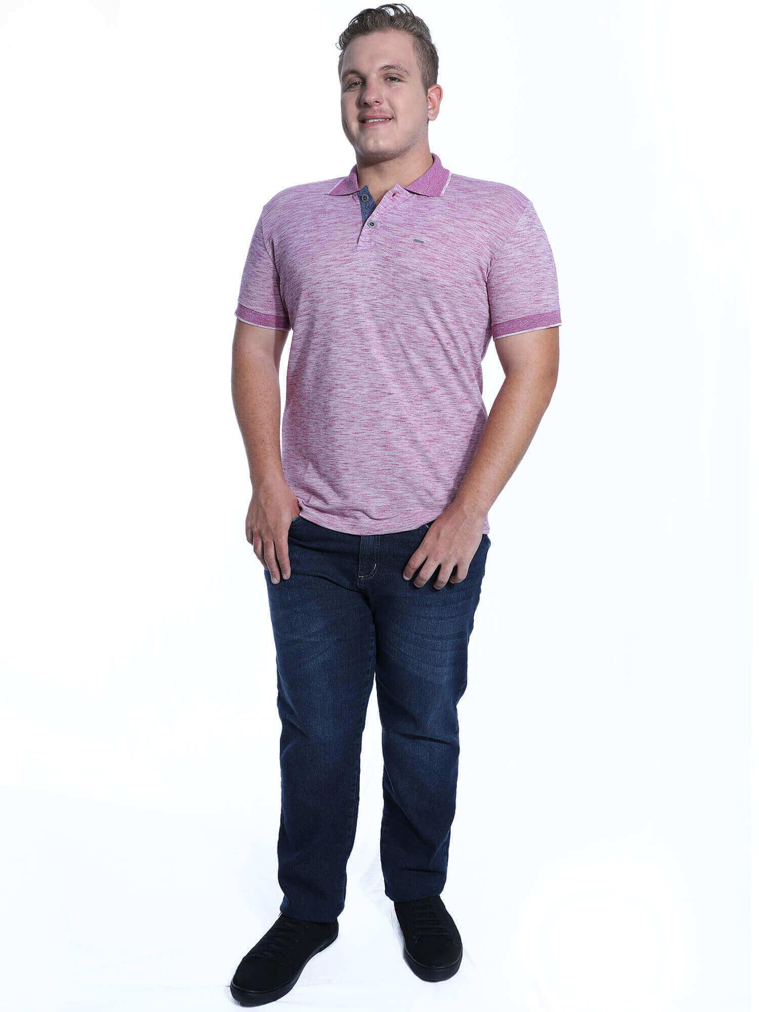 Camisa Polo Anistia Slim Fit Micro Piquet Roxo