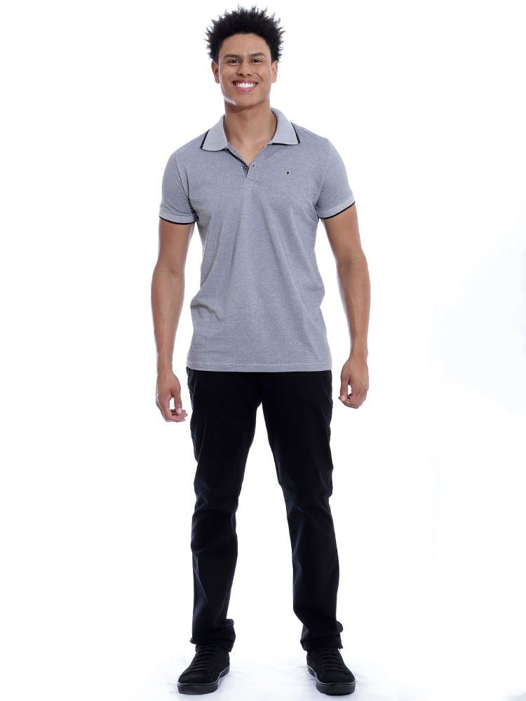 Camisa Polo Anistia Slim Fit Mini Piquet Preto