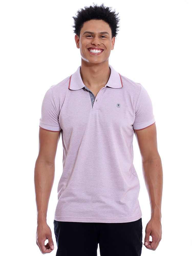 Camisa Polo Anistia Slim Fit Mini Piquet Vermelho