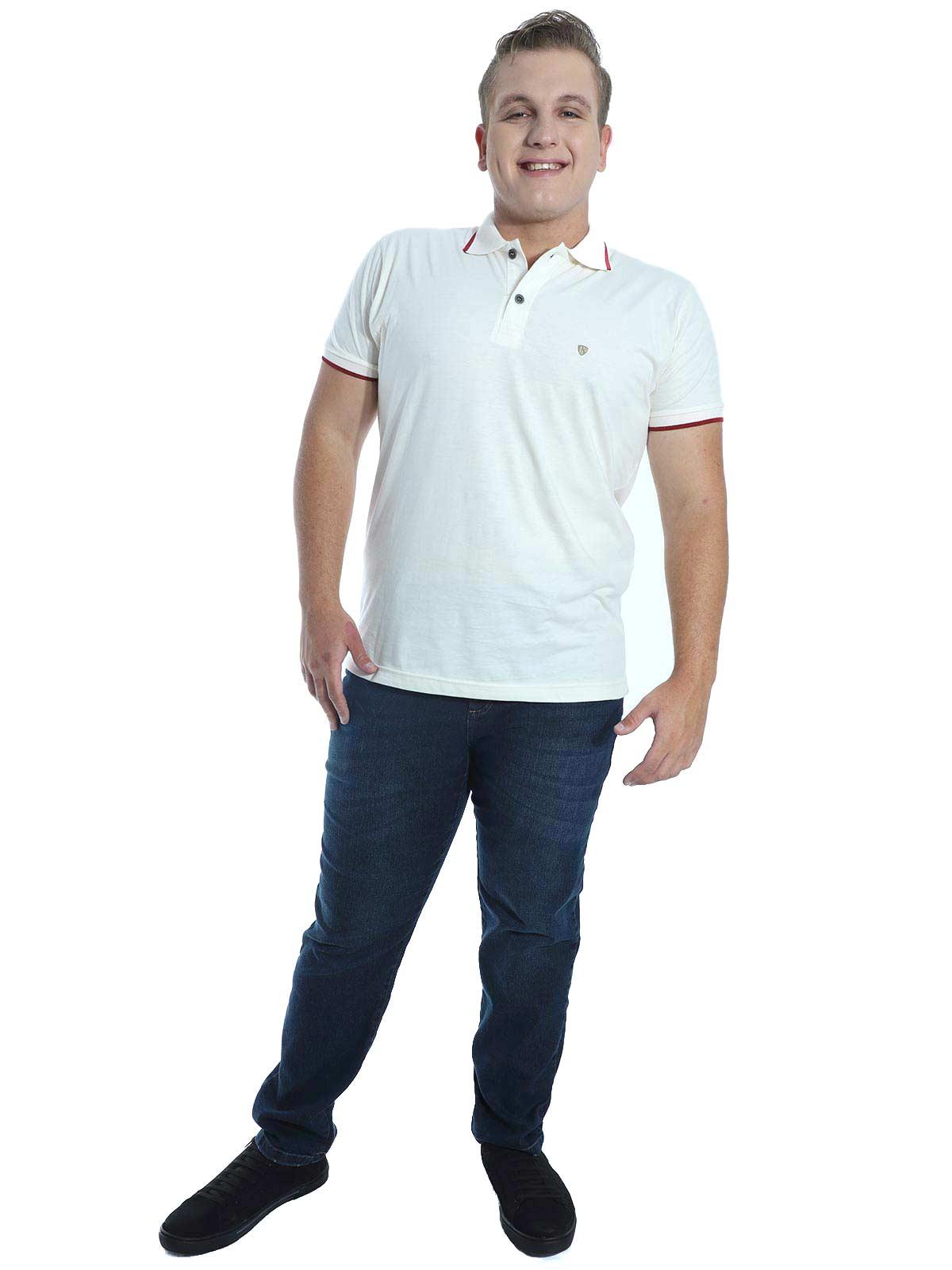 Camisa Polo Básica Anistia Estampa Relevo Marfim