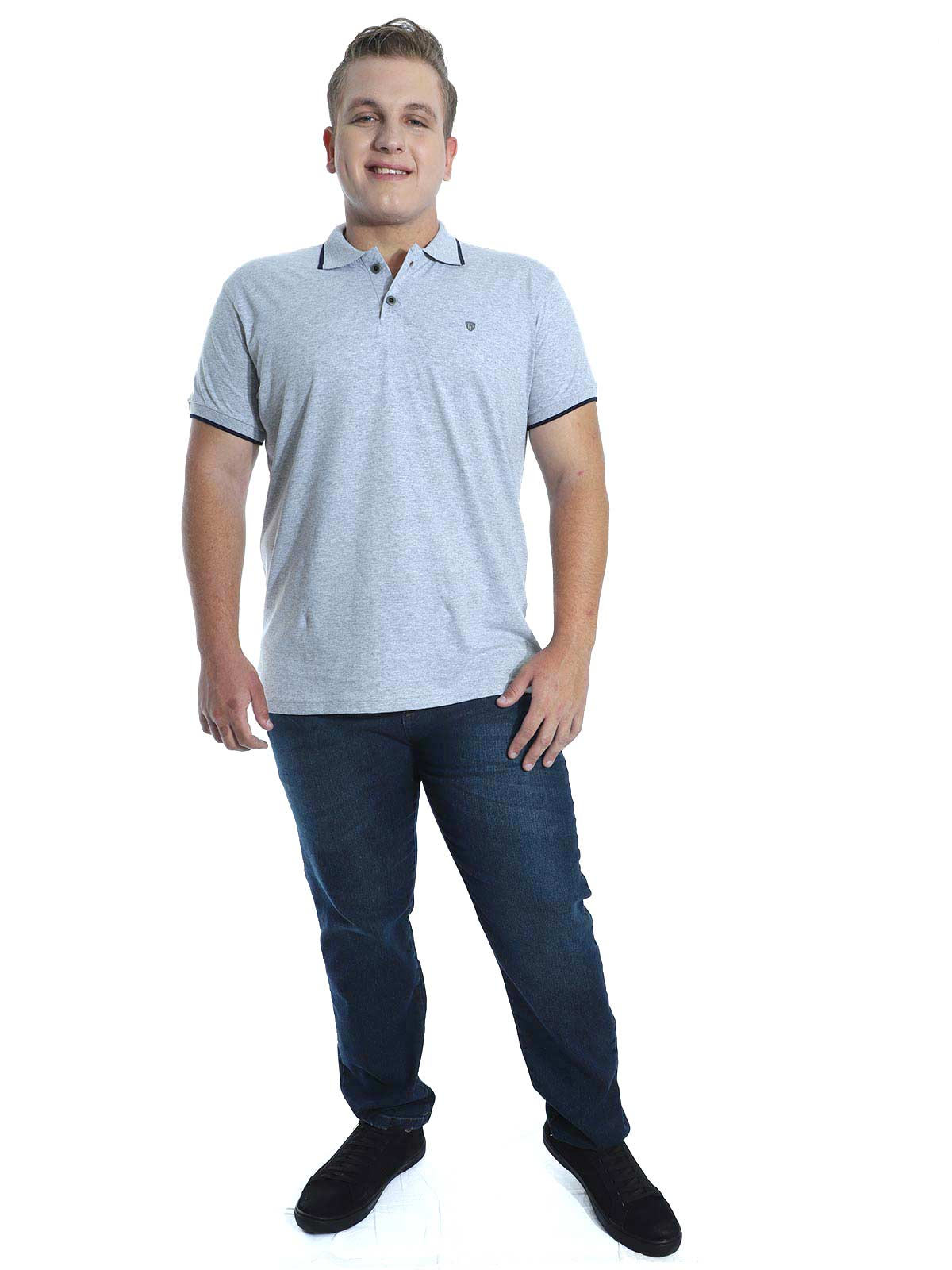 Camisa Polo Básica Anistia Estampa Relevo Mescla