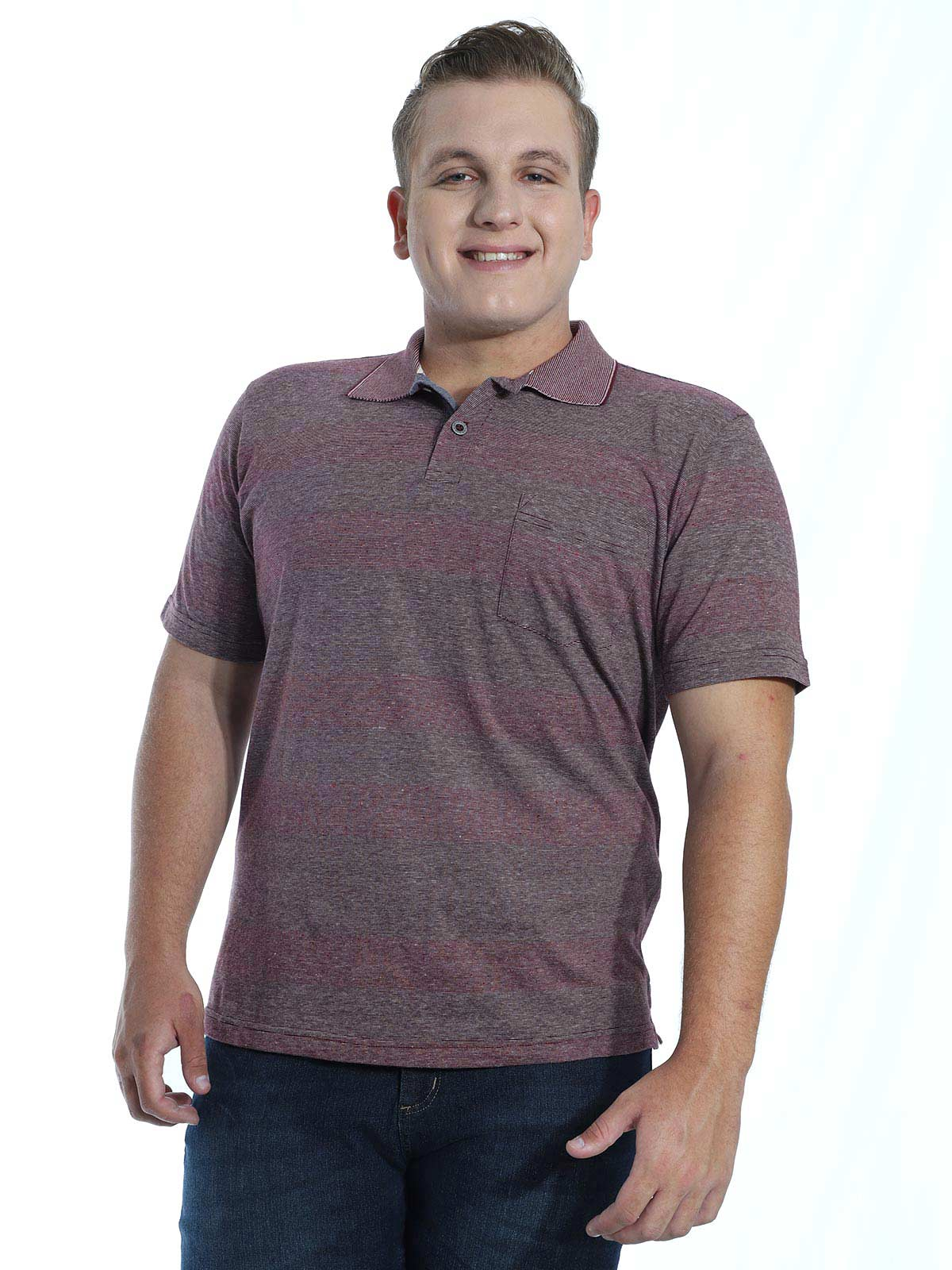 Camisa Polo Básica Botonê Stripe Anistia Bordo