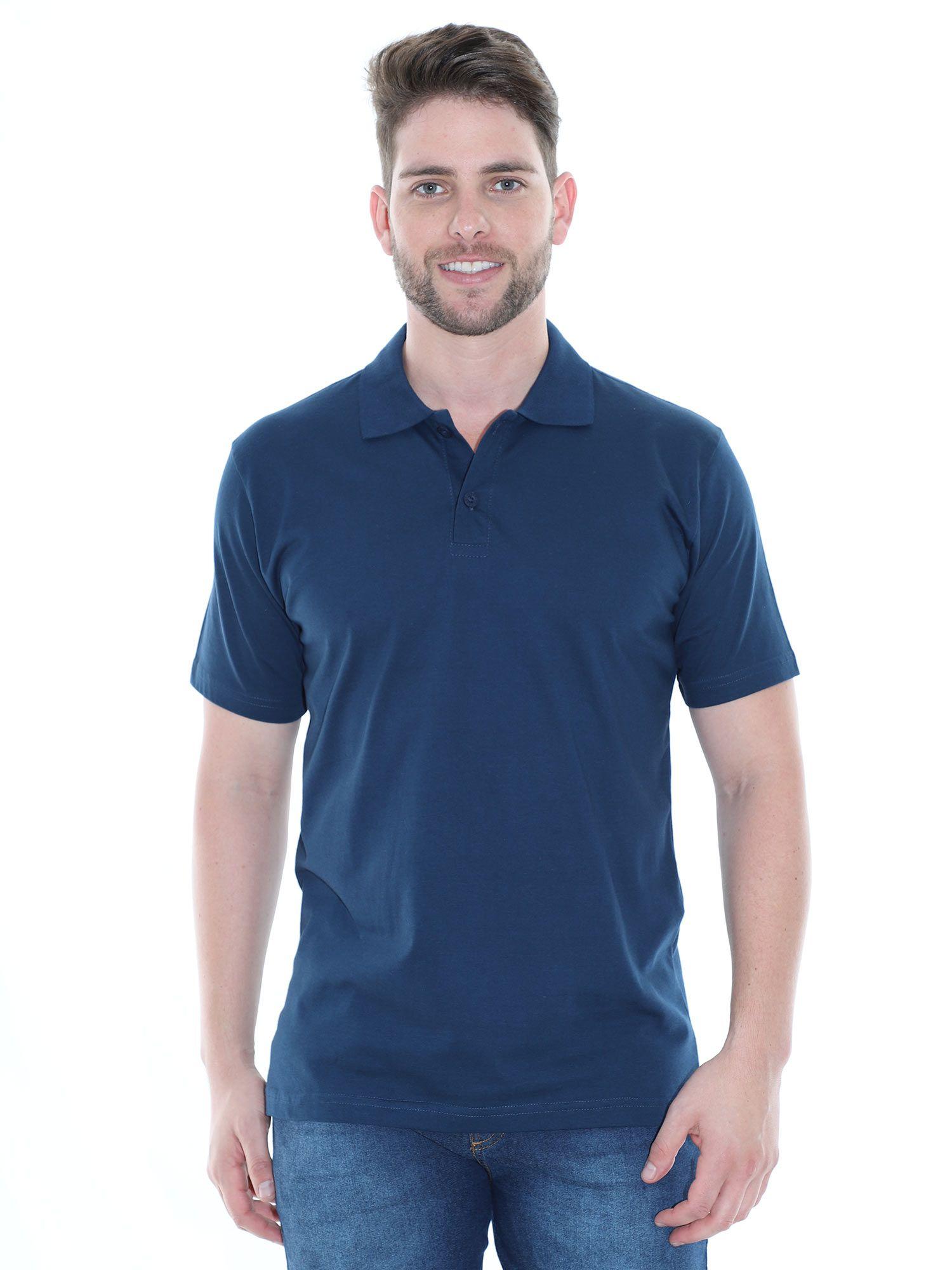 Camisa Polo Básica Lisa Anistia Azul Marinho