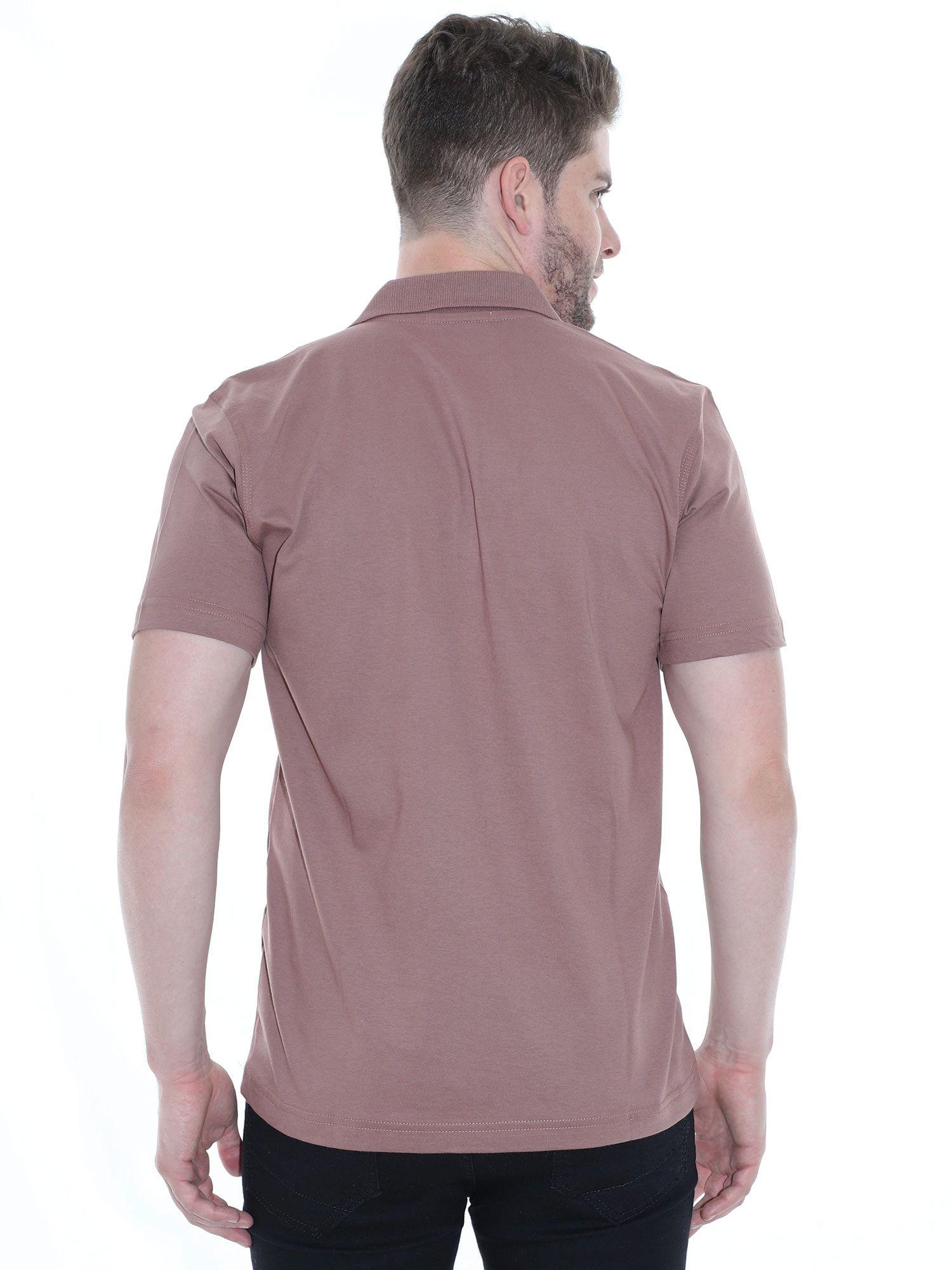 Camisa Polo Básica Lisa Anistia Marrom