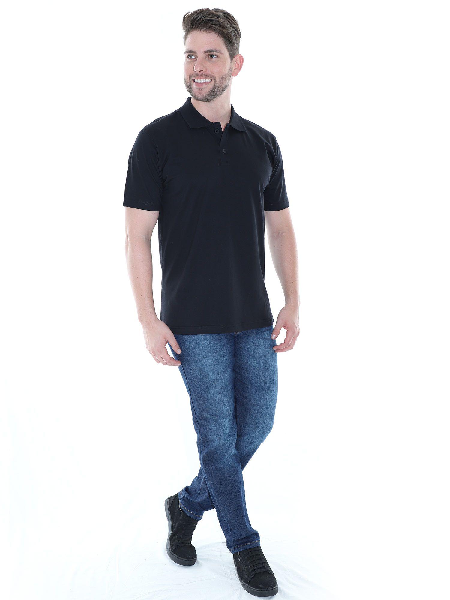 Camisa Polo Básica Lisa Anistia Preto