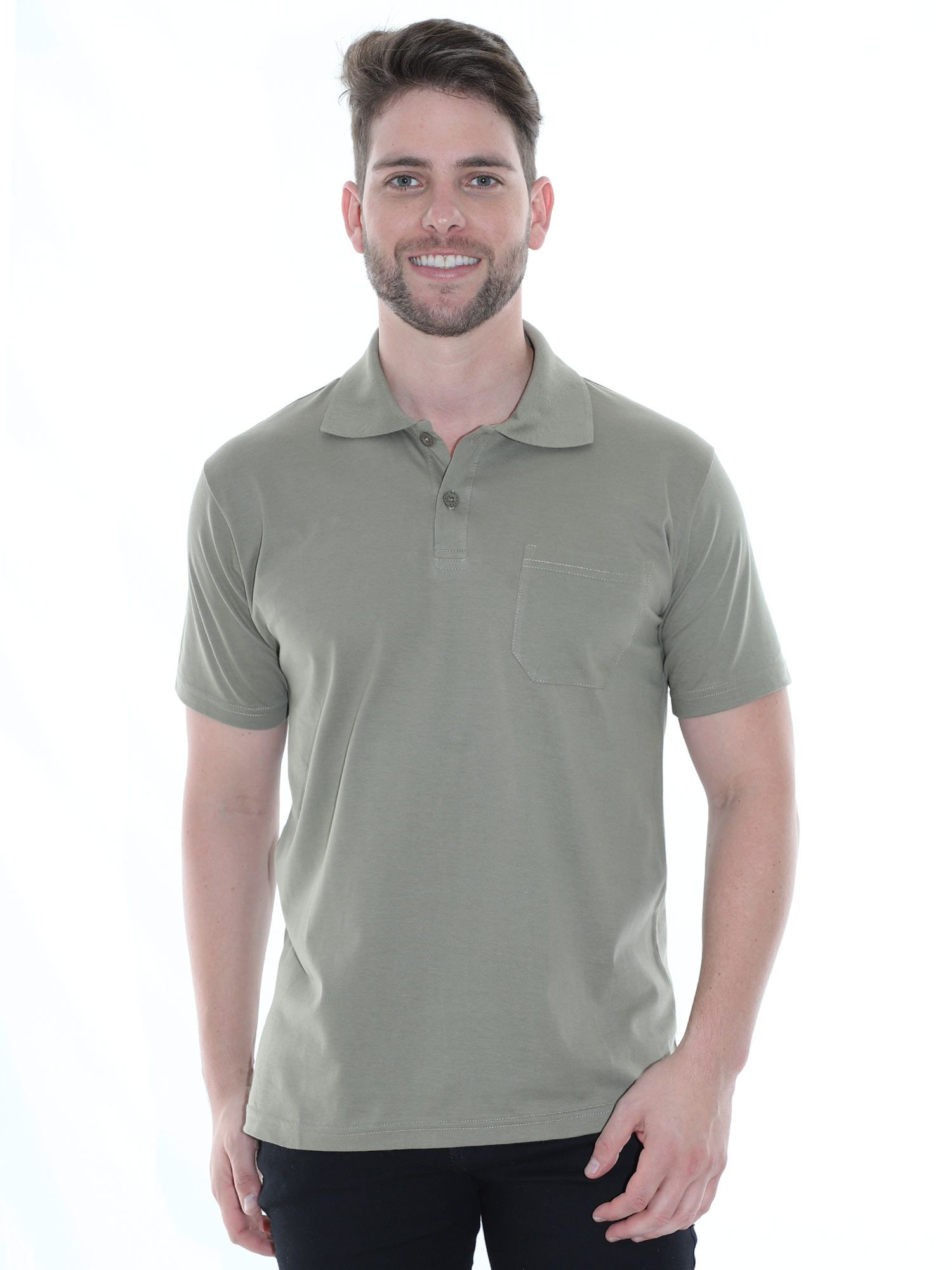 Camisa Polo com Bolso Básica Lisa Anistia Bambu