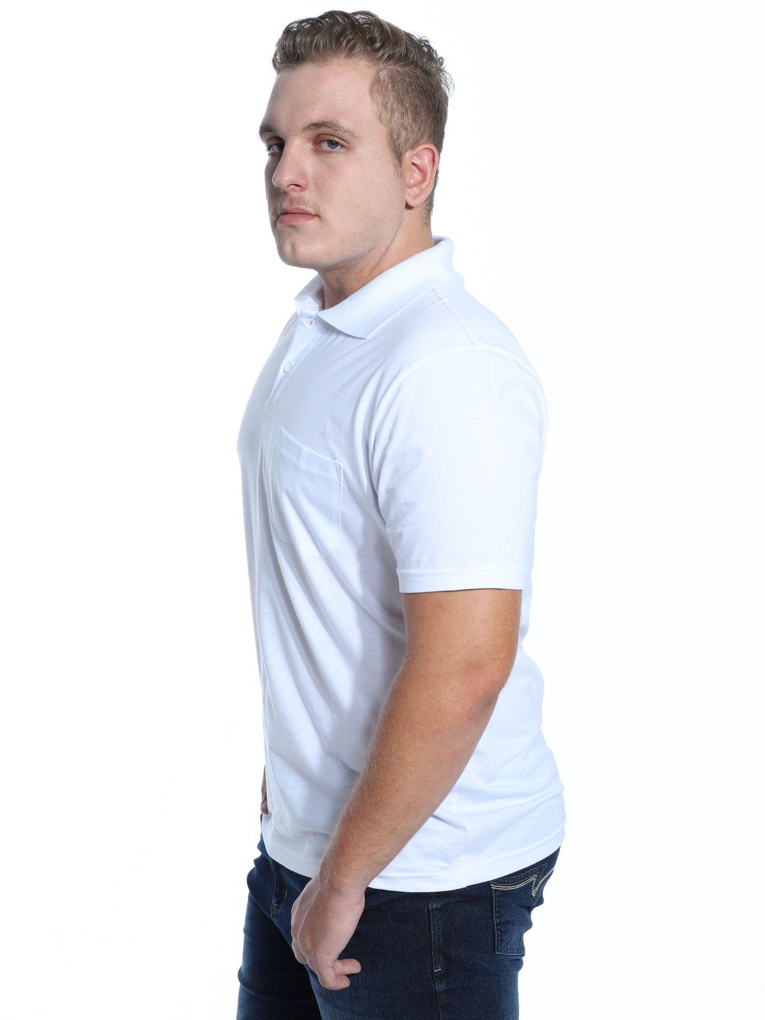 Camisa Polo com Bolso Básica Lisa Anistia Branco