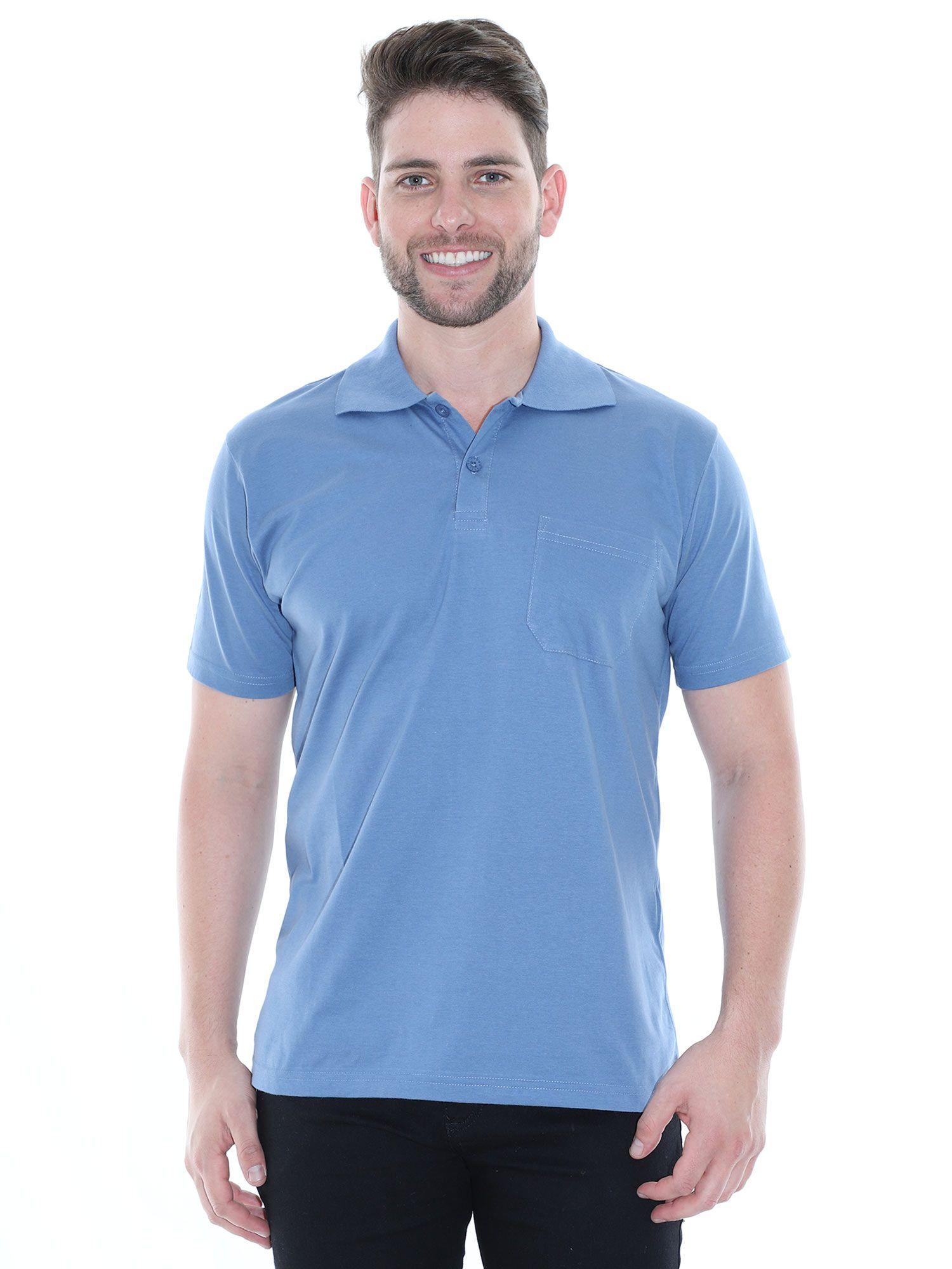 Camisa Polo com Bolso Básica Lisa Anistia Indigo
