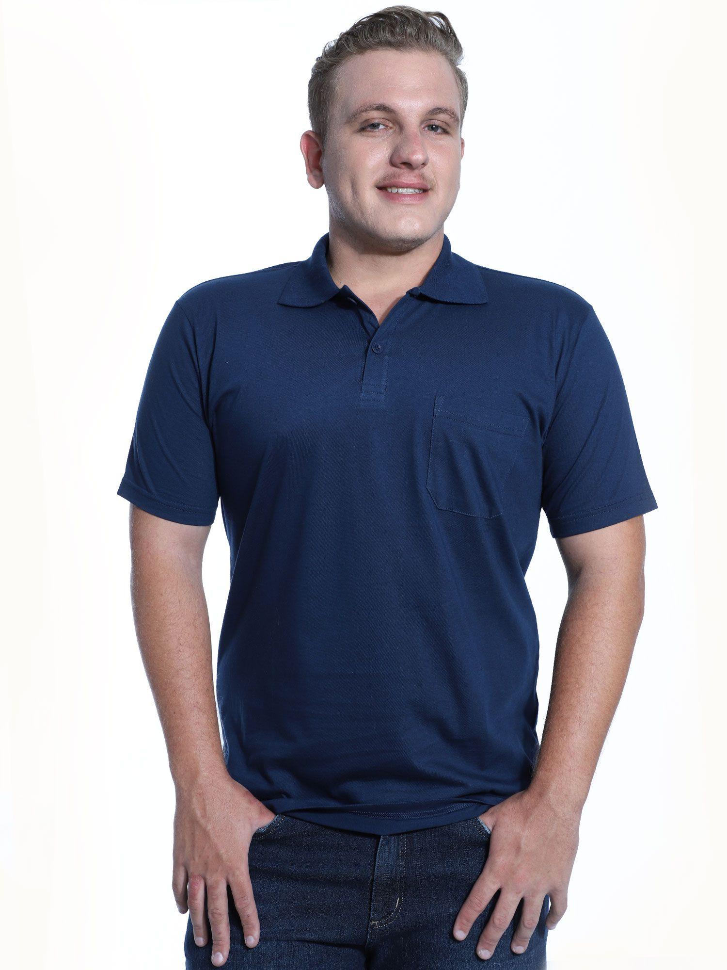 Camisa Polo com Bolso Básica Lisa Anistia Marinho