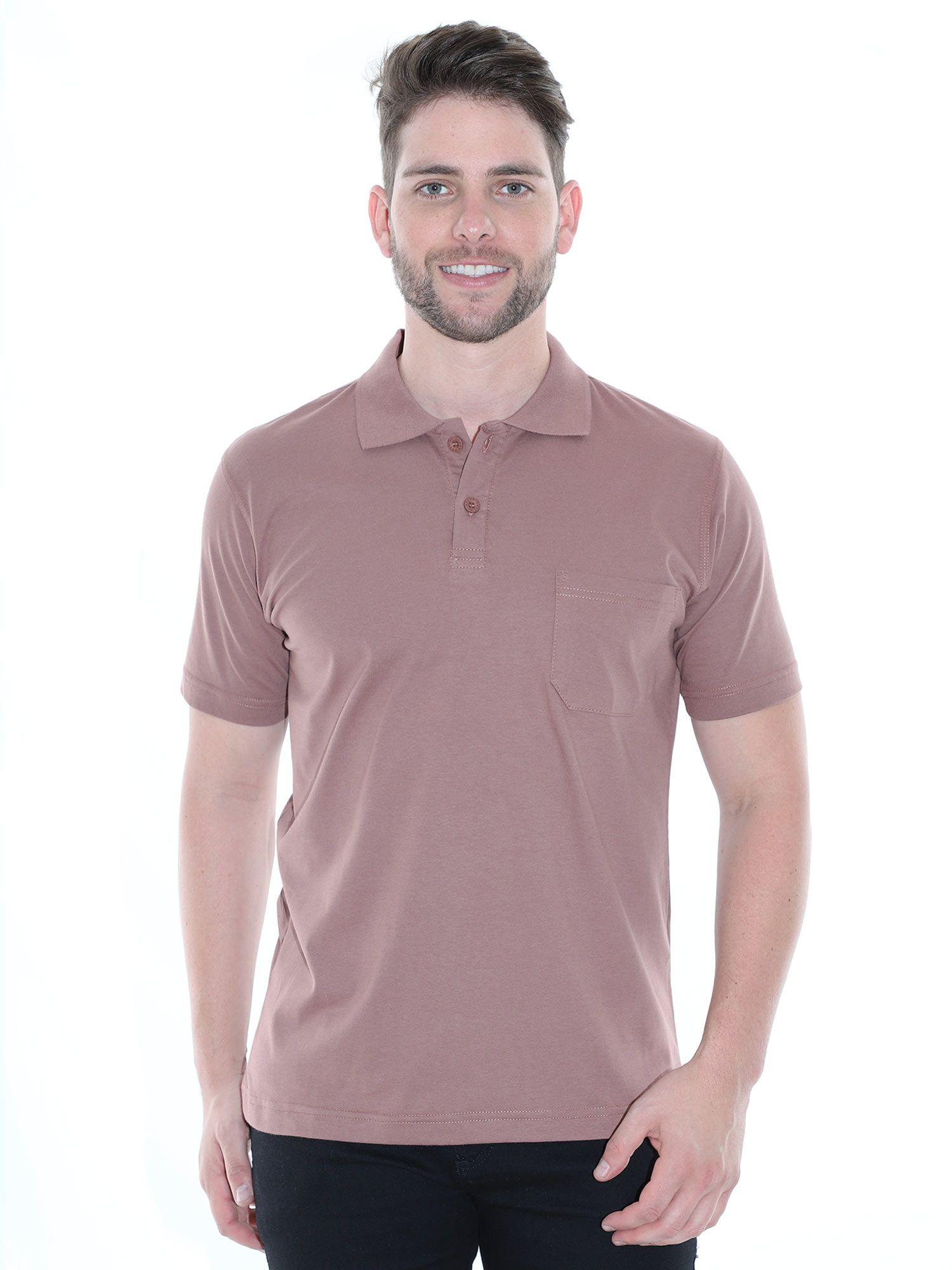 Camisa Polo com Bolso Básica Lisa Anistia Marrom