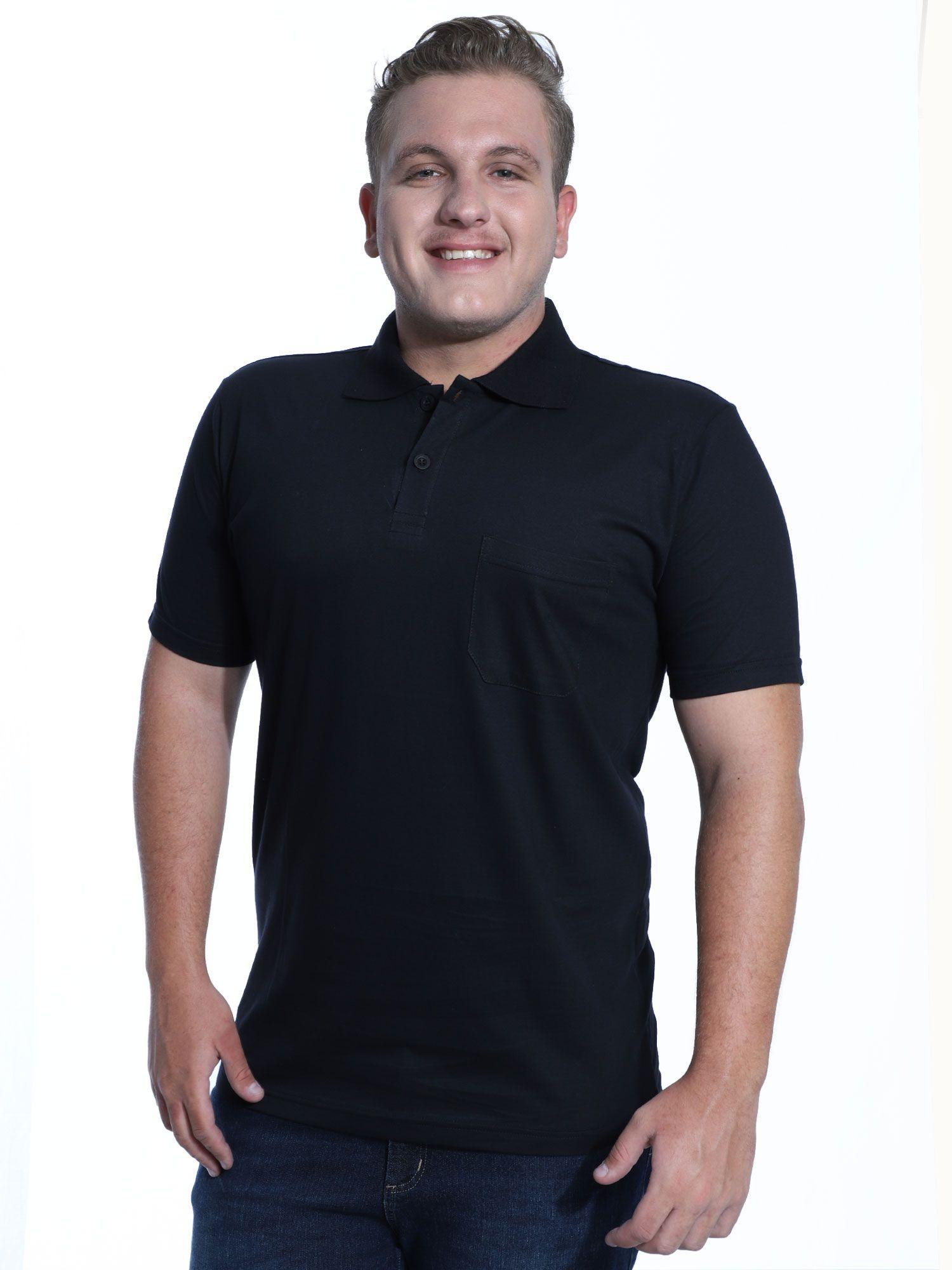 Camisa Polo com Bolso Básica Lisa Anistia Preto