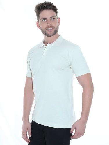 Camisa Polo Masculina Básica Algodão Lisa Conforto Areia