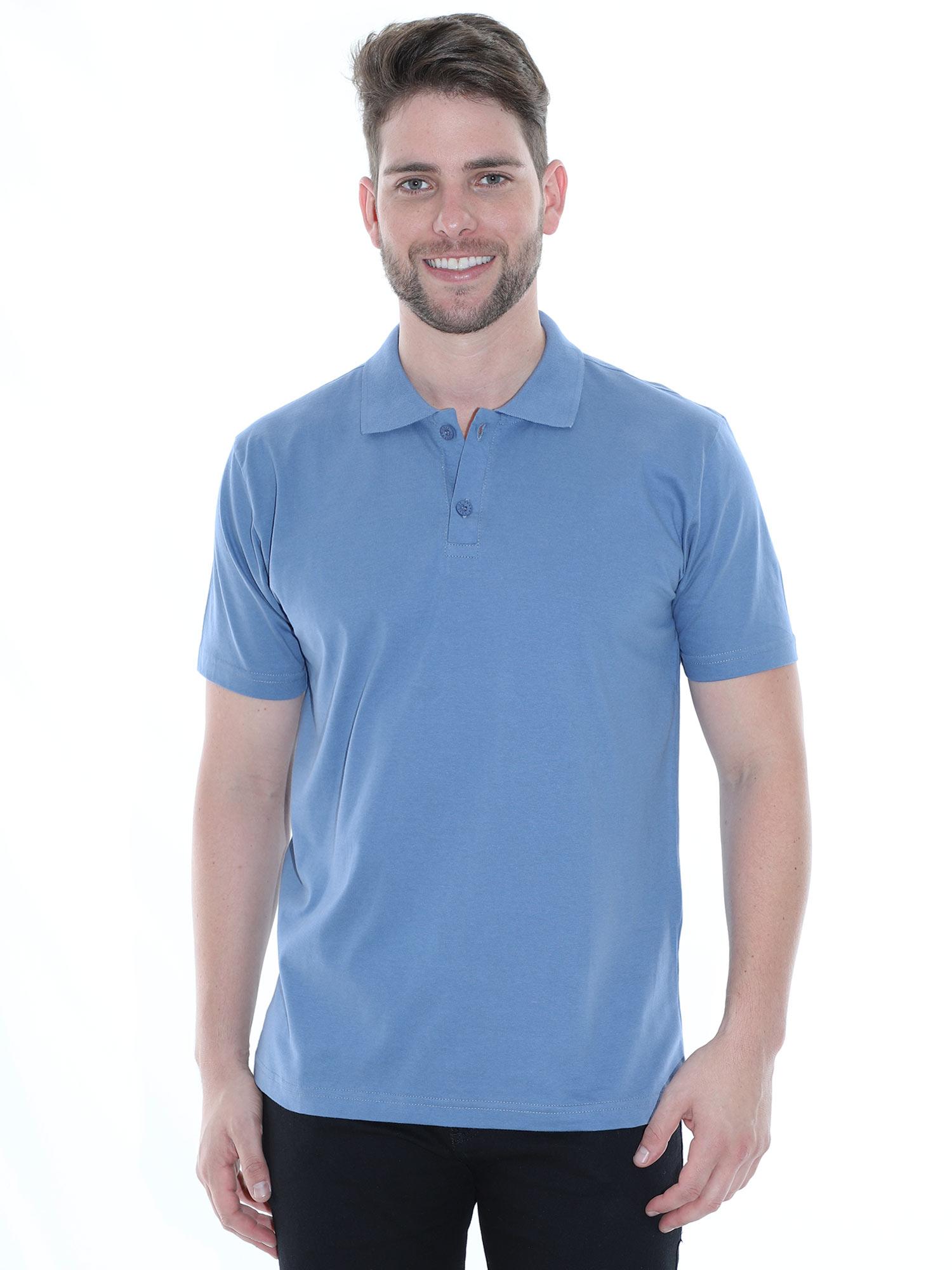 Camisa Polo Masculina Básica Algodão Lisa Conforto Azul