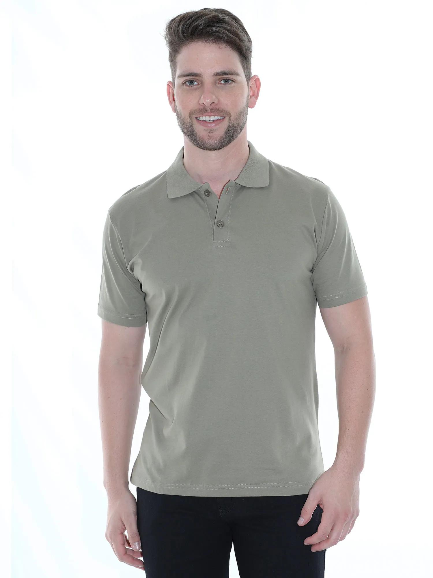 Camisa Polo Masculina Básica Algodão Lisa Conforto Bambu