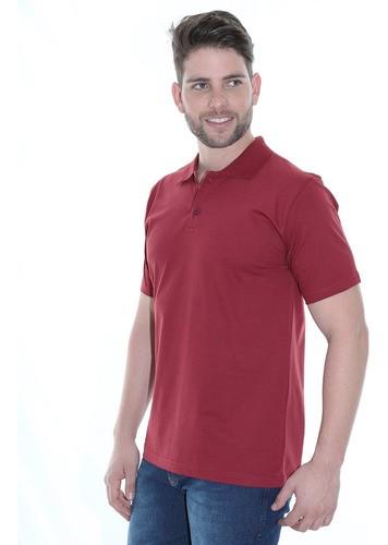 Camisa Polo Masculina Básica Algodão Lisa Conforto Bordo