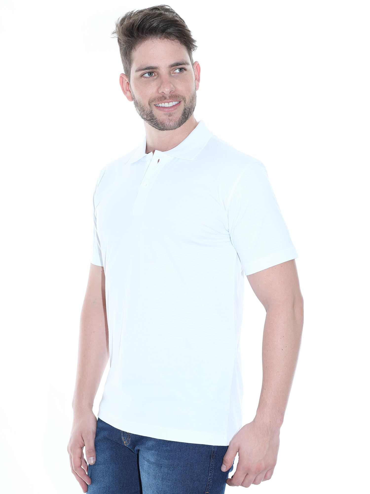Camisa Polo Masculina Básica Algodão Lisa Conforto Branca