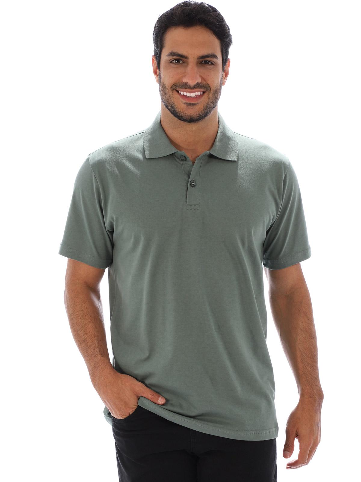 Camisa Polo Masculina Básica Algodão Lisa Conforto Concreto
