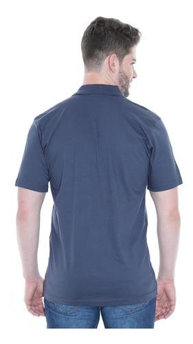 Camisa Polo Masculina Básica Algodão Lisa Conforto Grafite