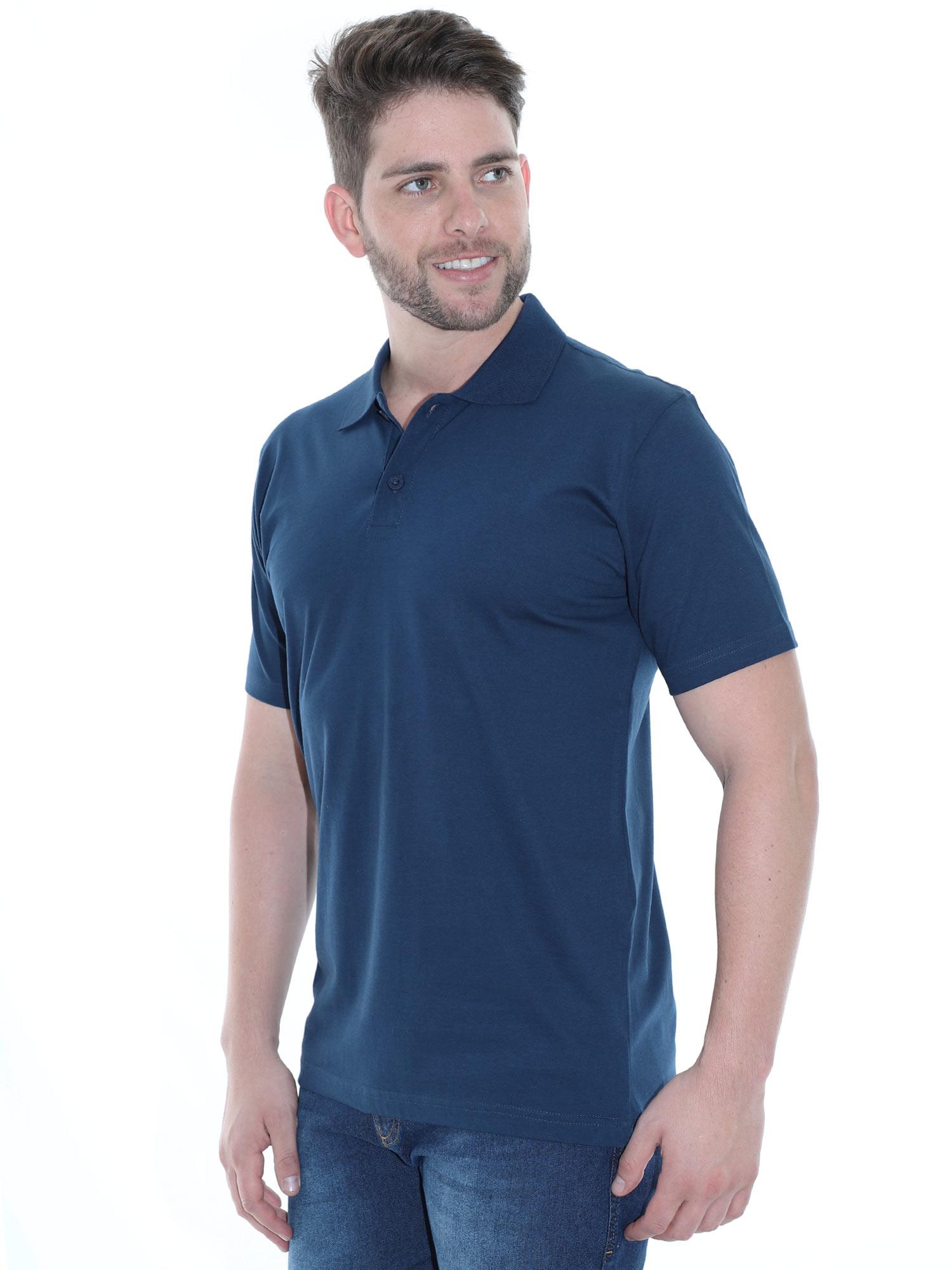 Camisa Polo Masculina Básica Algodão Lisa Conforto Marinho