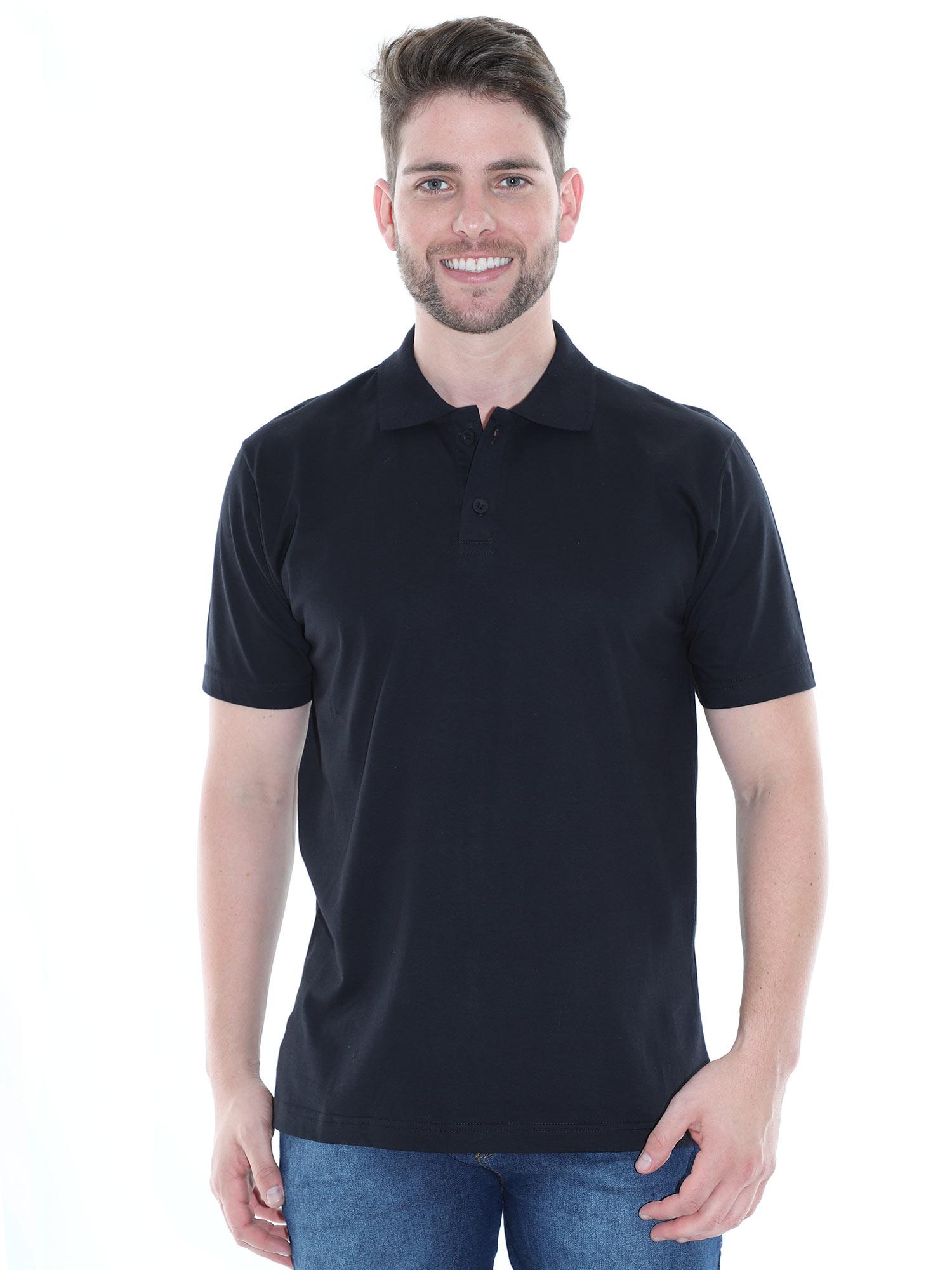 Camisa Polo Masculina Básica Algodão Lisa Conforto Preto