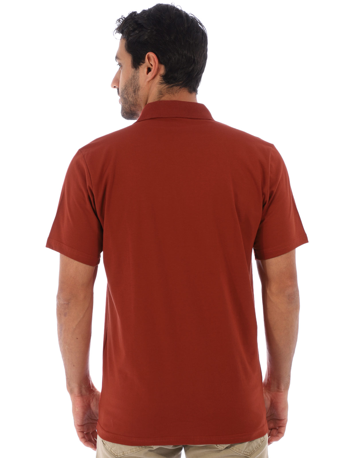 Camisa Polo Masculina Básica Algodão Lisa Conforto Tijolo