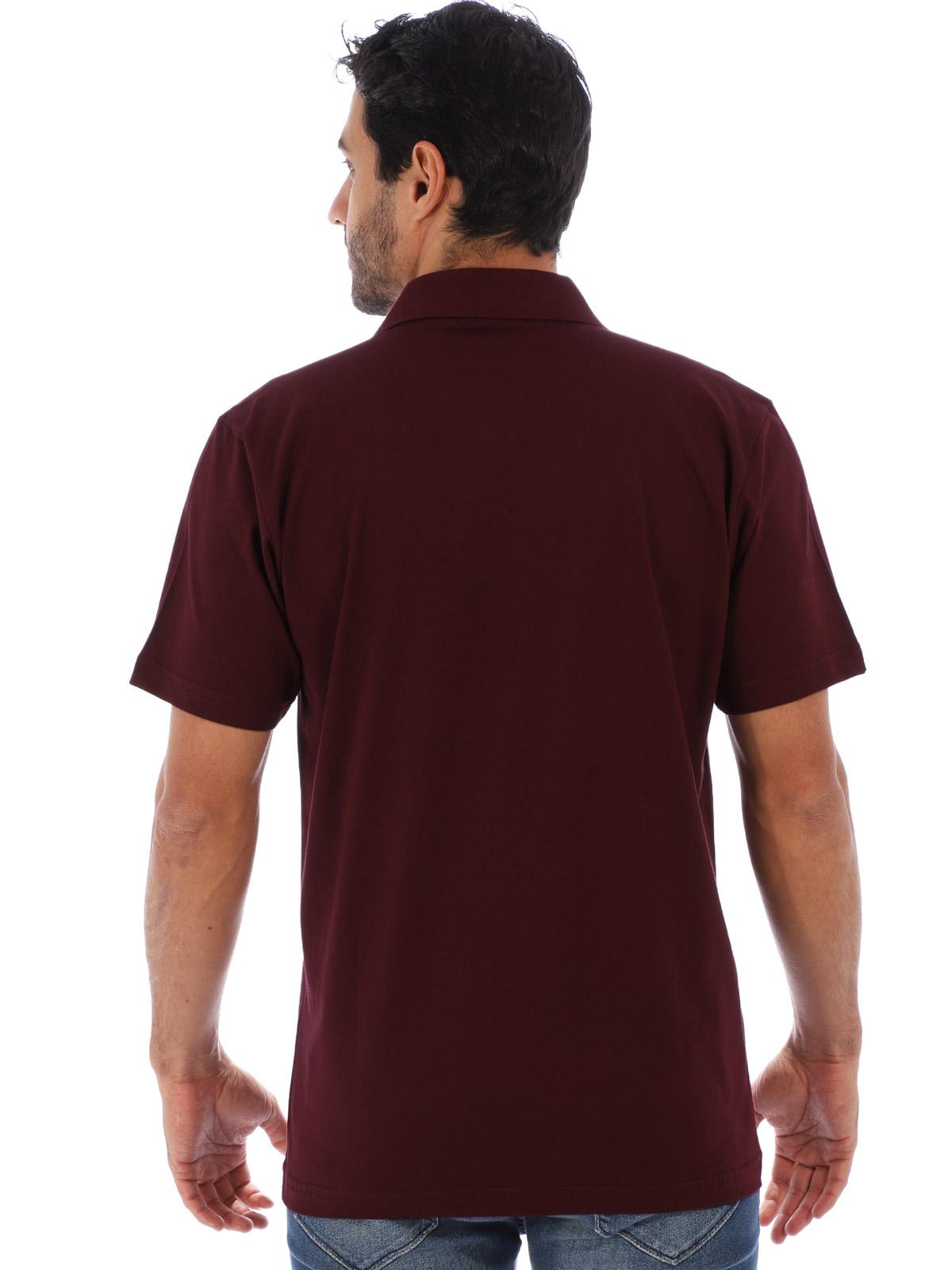Camisa Polo Masculina Básica Algodão Lisa Conforto Vinho