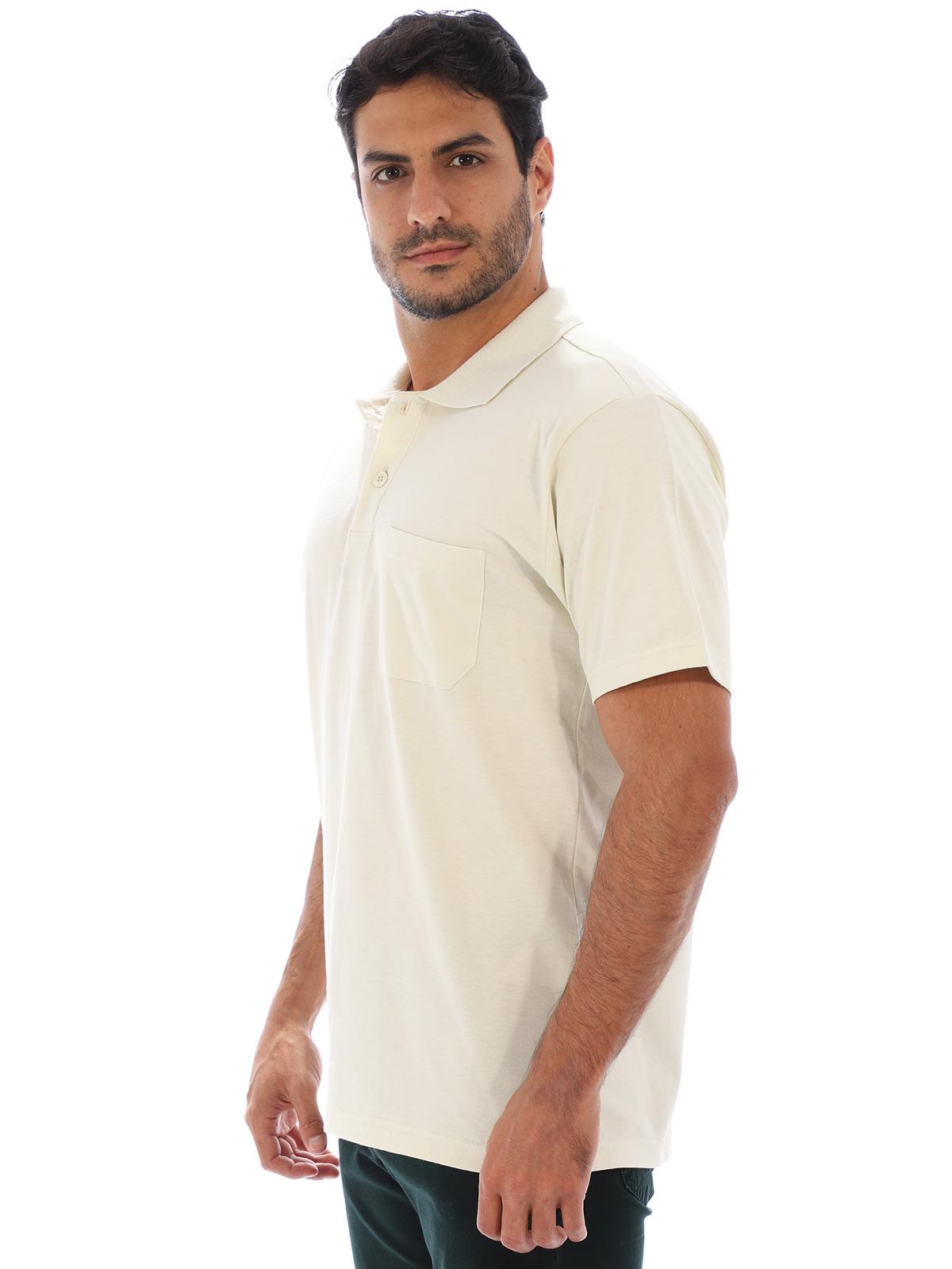 Camisa Polo Masculina com Bolso Básica Algodão Lisa Areia