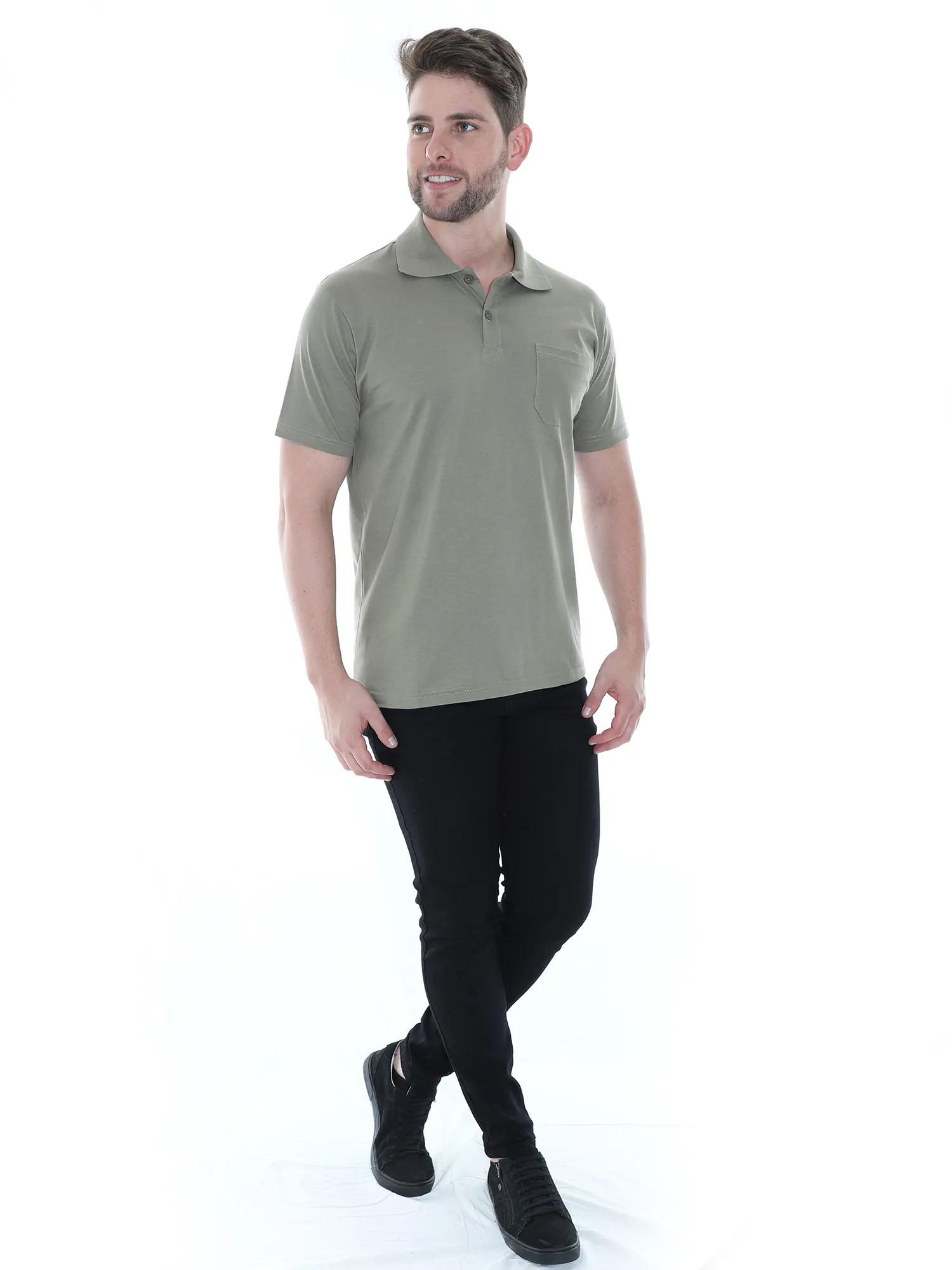 Camisa Polo Masculina com Bolso Básica Algodão Lisa Bambu