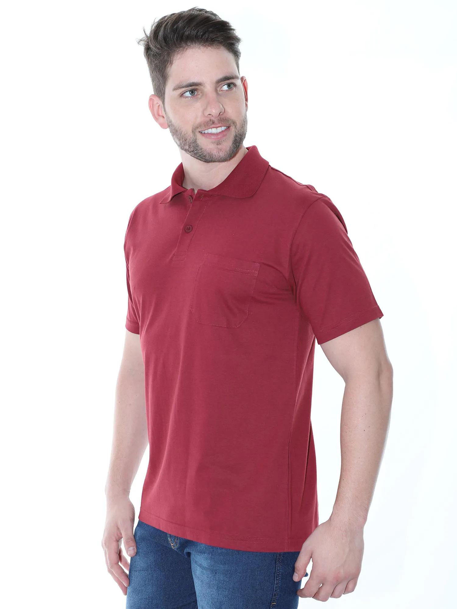 Camisa Polo Masculina com Bolso Básica Algodão Lisa Bordo