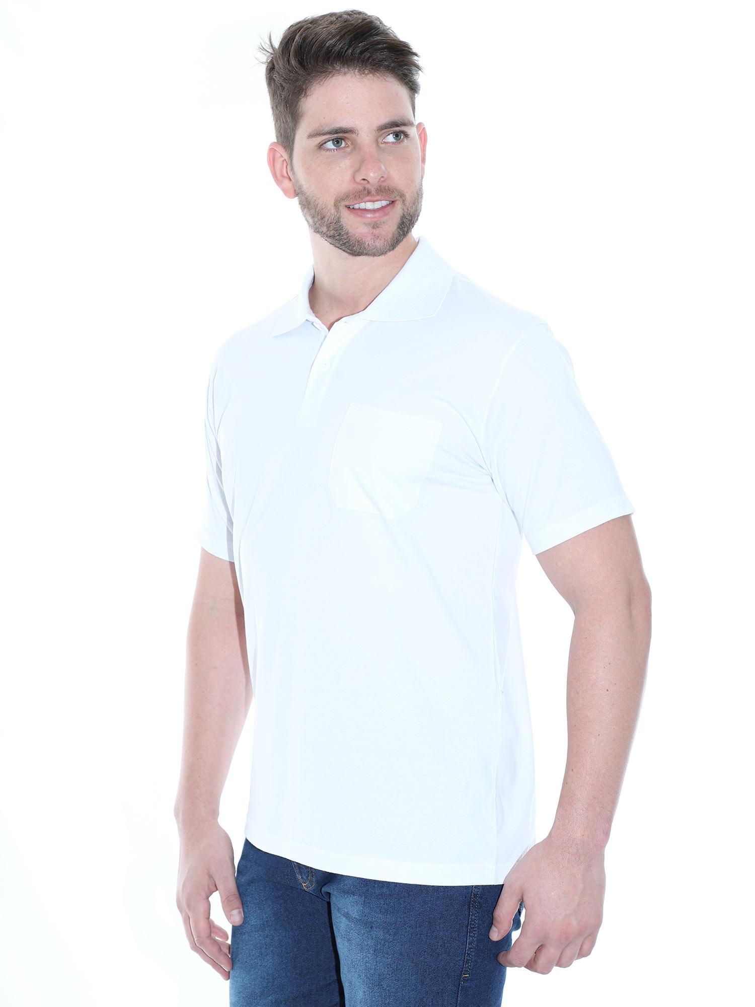 Camisa Polo Masculina com Bolso Básica Algodão Lisa Branco