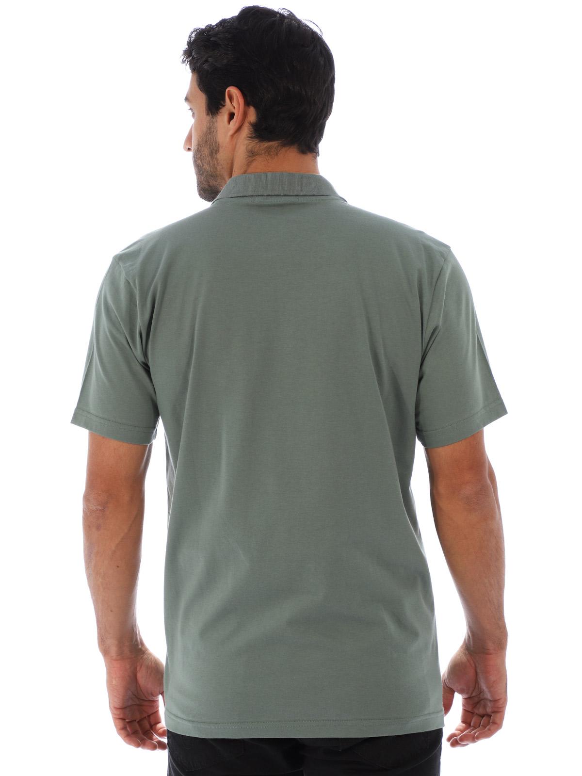 Camisa Polo Masculina com Bolso Básica Algodão Lisa Concreto