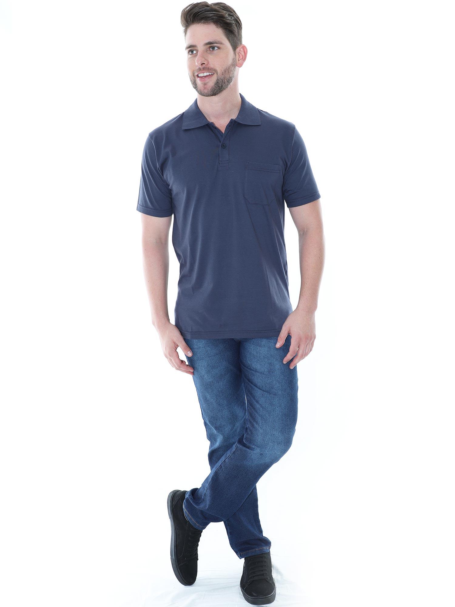 Camisa Polo Masculina com Bolso Básica Algodão Lisa Grafite